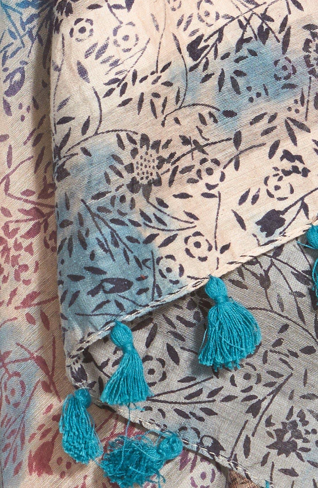 Floral Print Silk & Cotton Scarf,                             Alternate thumbnail 5, color,