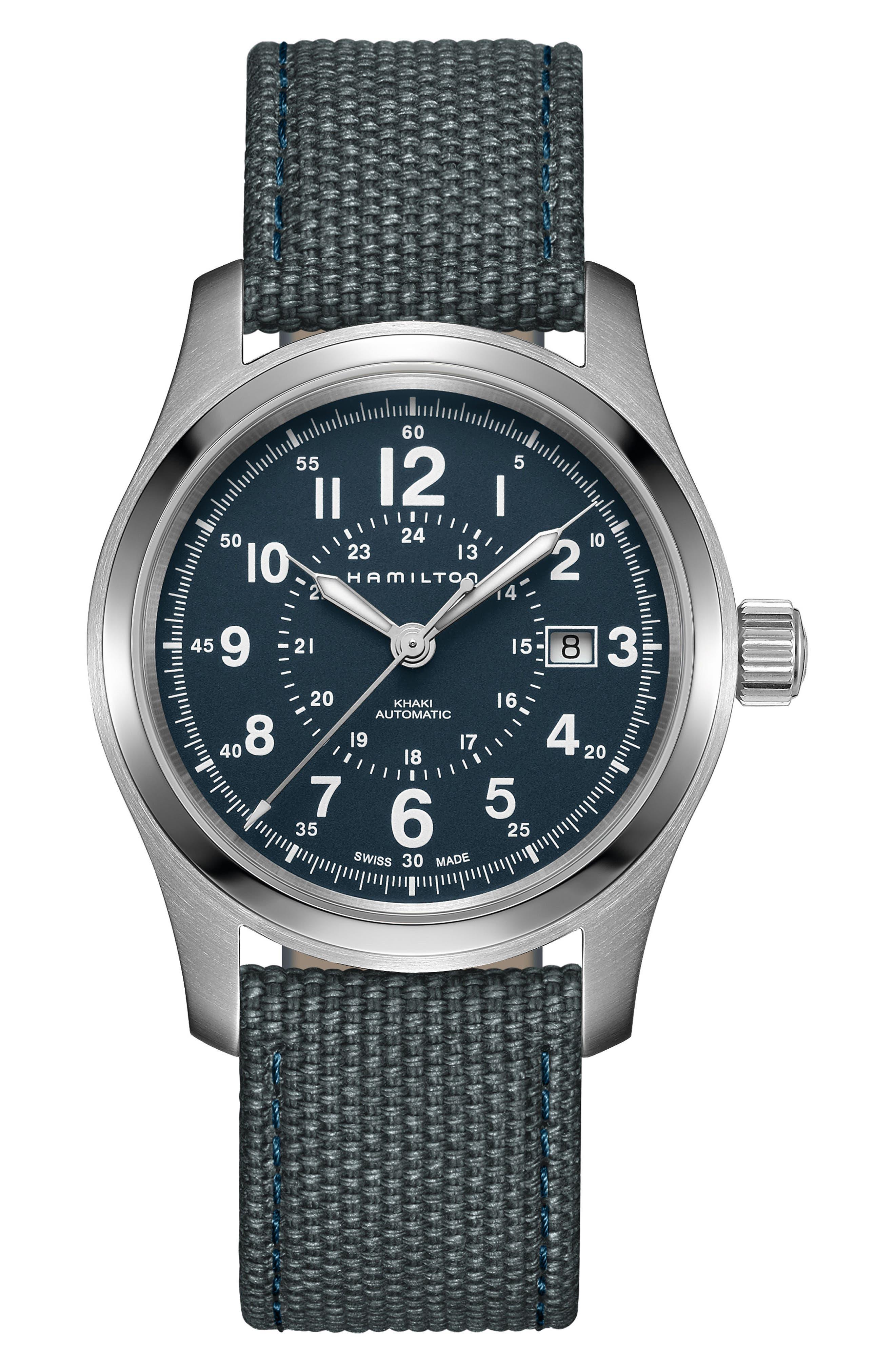 Khaki Field Automatic Canvas Strap Watch, 42mm,                         Main,                         color, BLUE/ SILVER