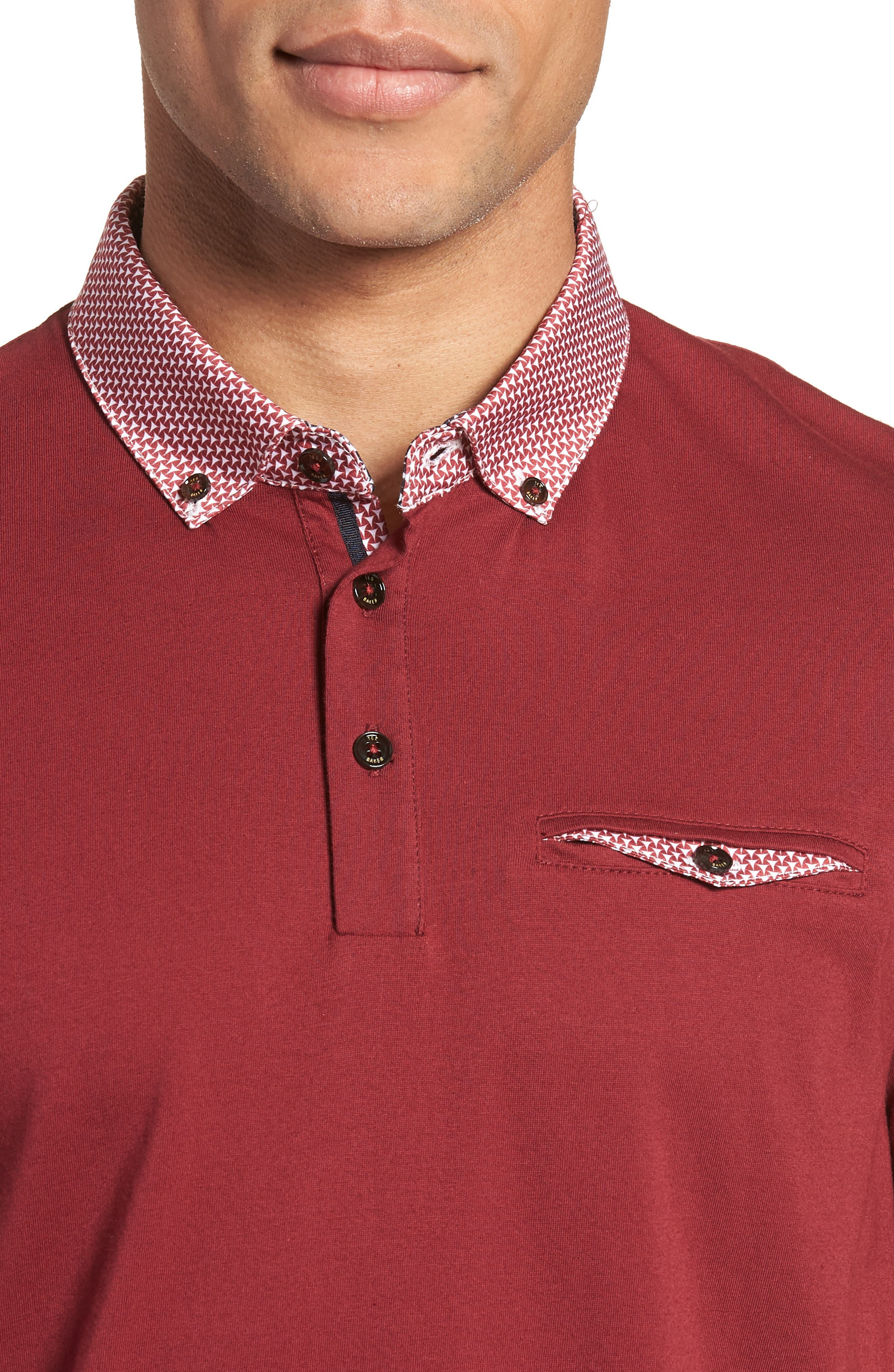 Movey Trim Fit Woven Geo Polo,                             Alternate thumbnail 16, color,