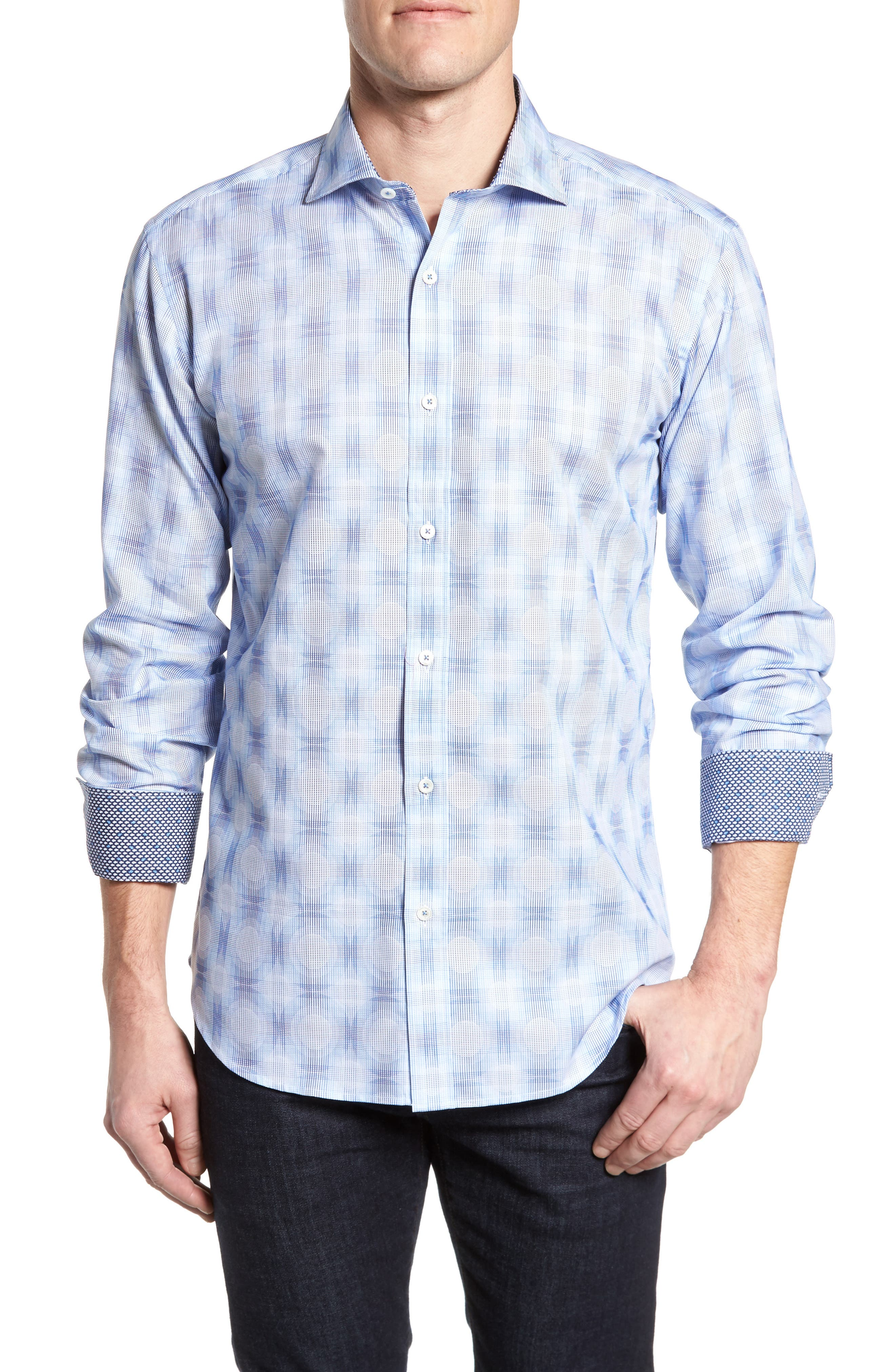 Classic Fit Plaid Sport Shirt,                         Main,                         color, 422