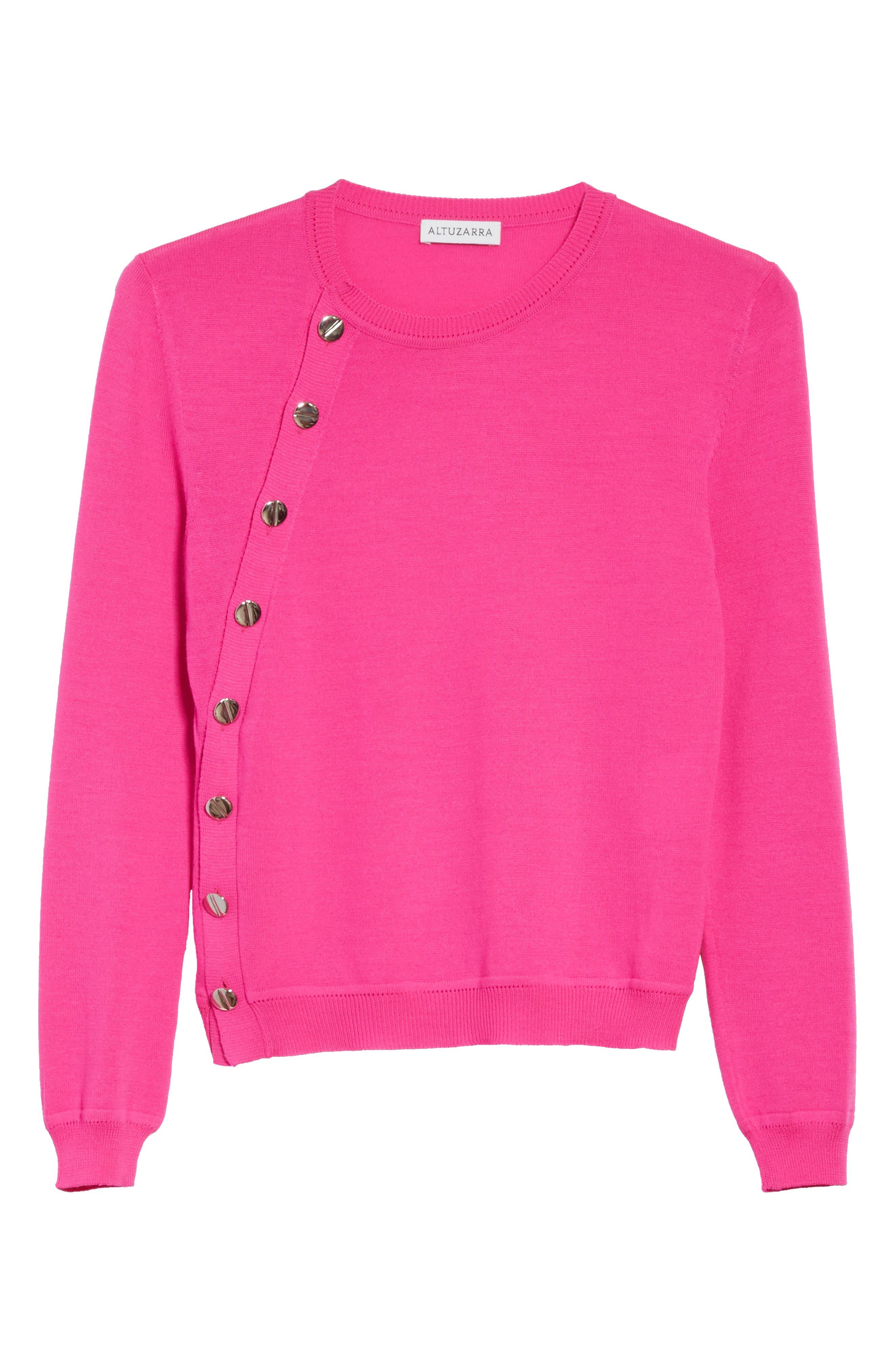 Button Detail Merino Wool Crop Sweater,                             Alternate thumbnail 6, color,                             650