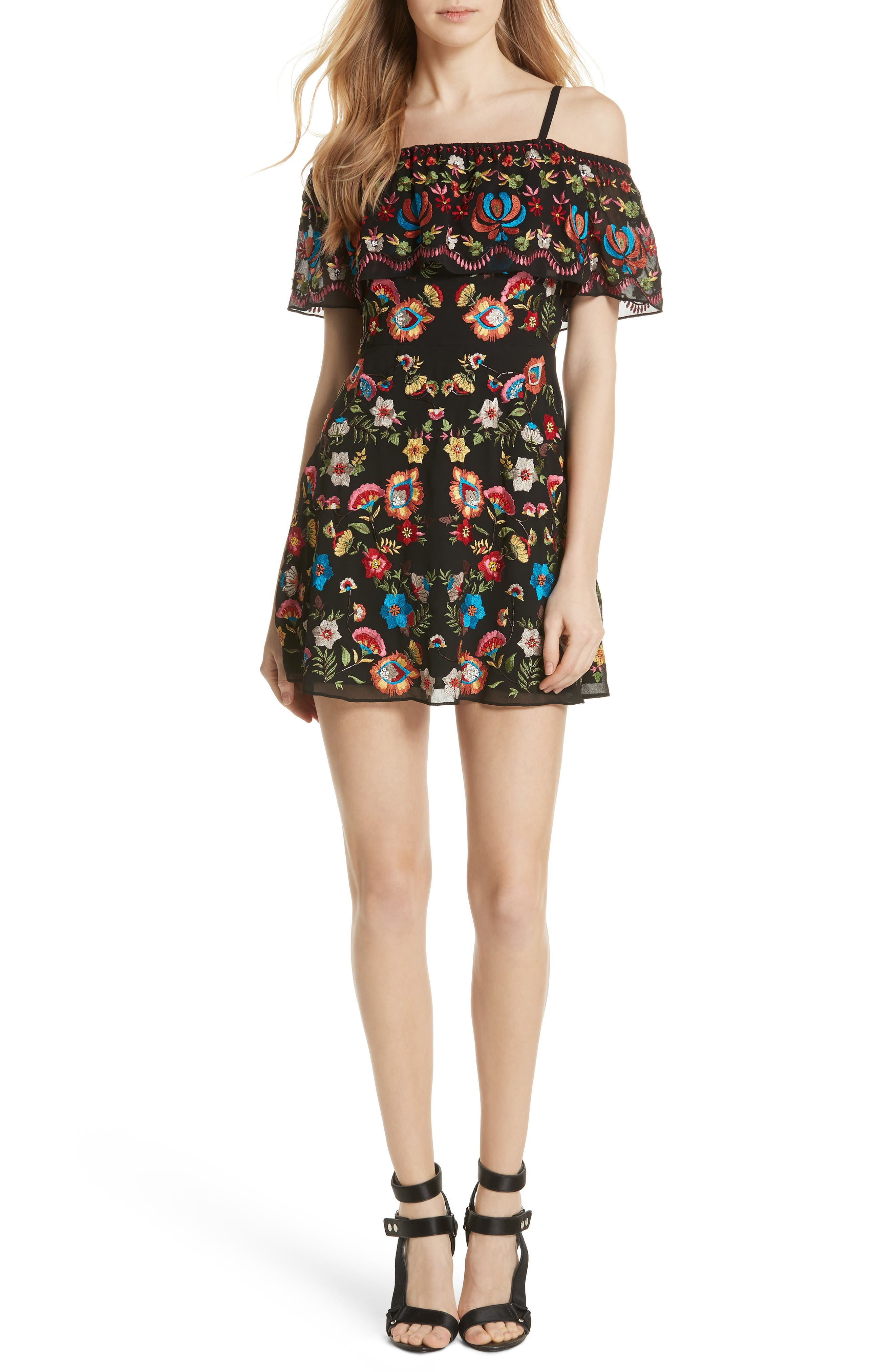 ALICE + OLIVIA Francina Embroidered Off the Shoulder Minidress, Main, color, 019