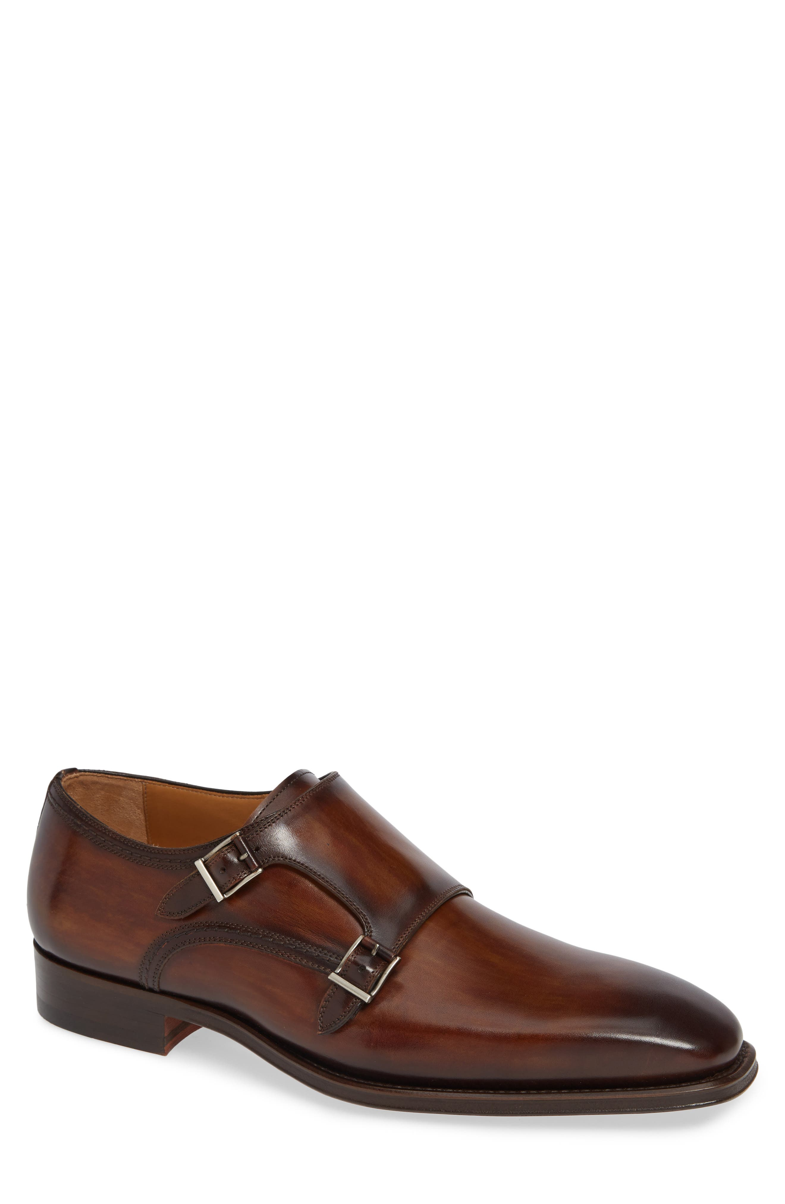 Landon Double Strap Monk Shoe,                         Main,                         color, TOBACCO LEATHER