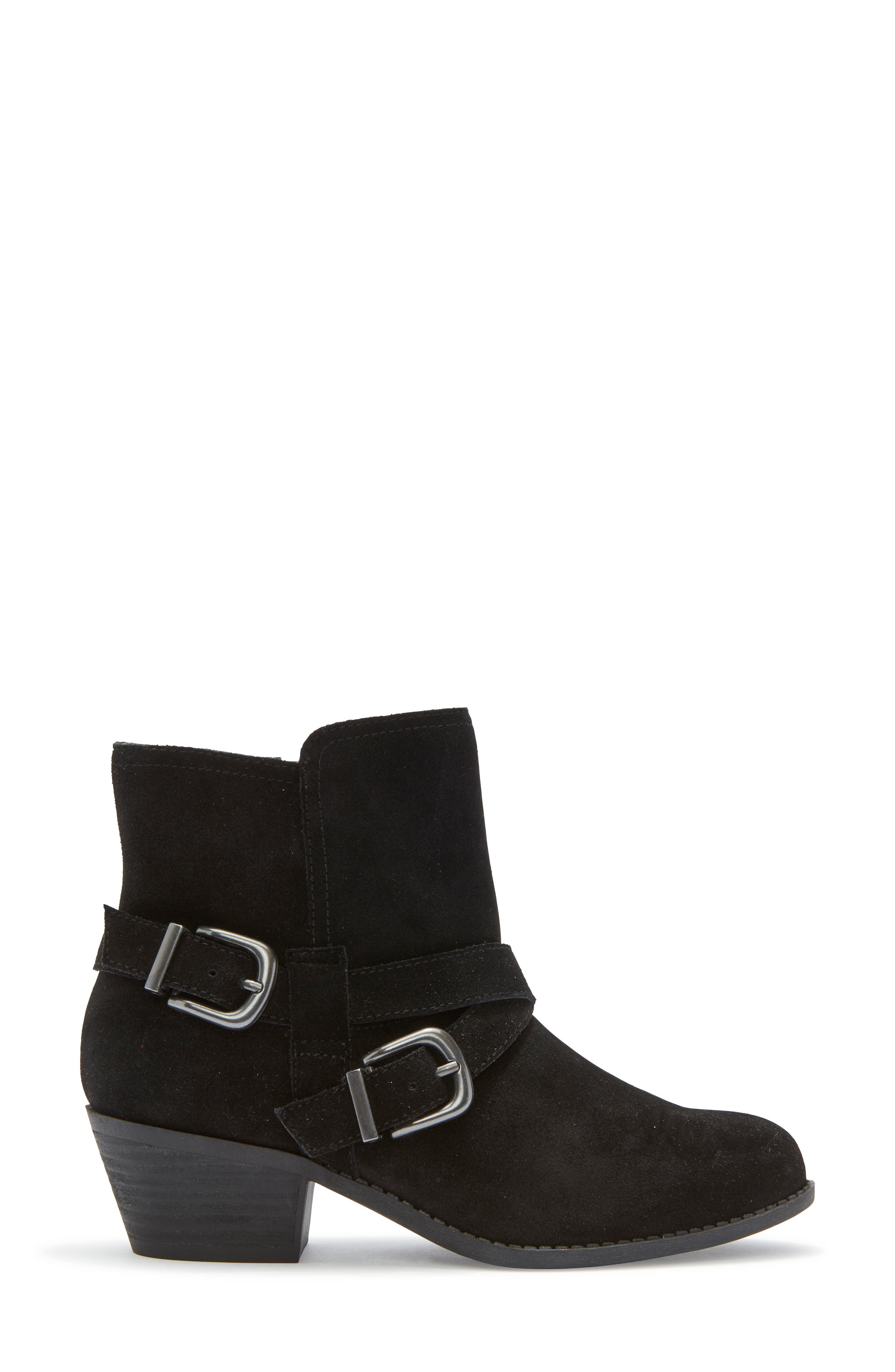 Zuri Buckle Boot,                             Alternate thumbnail 3, color,                             BLACK SUEDE
