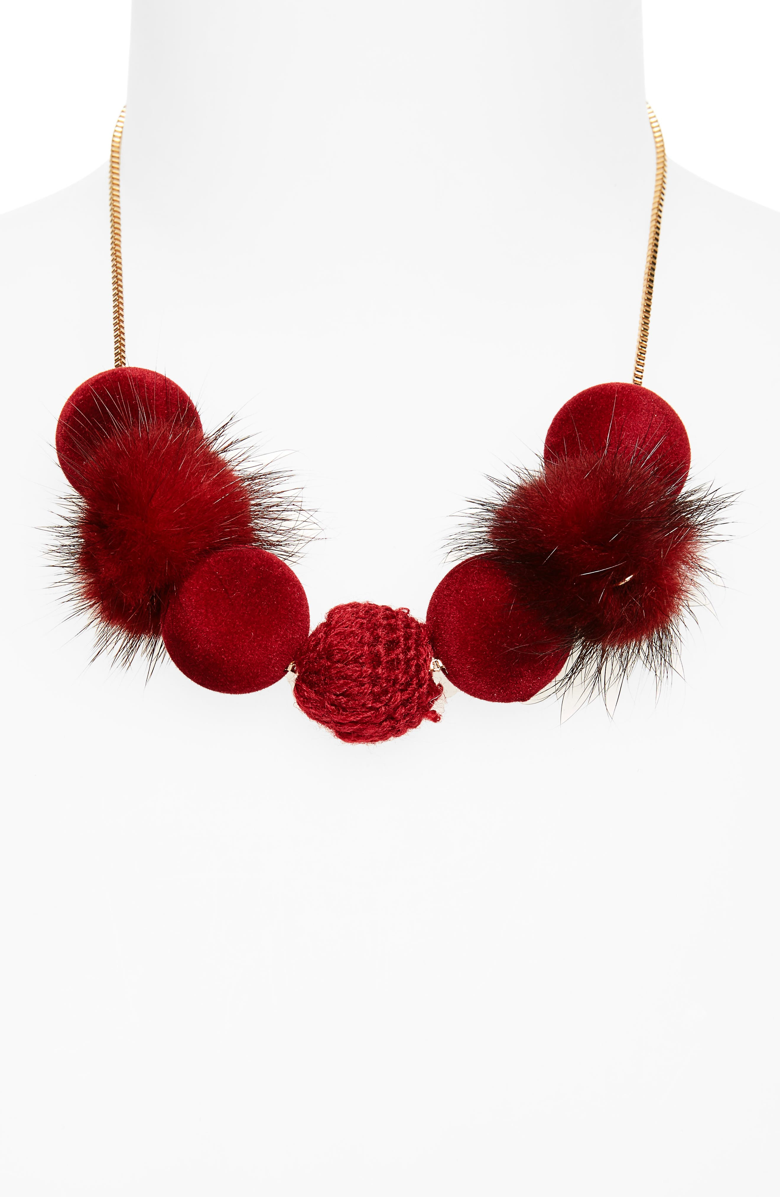 Fuzzy Pompom Necklace,                             Alternate thumbnail 4, color,