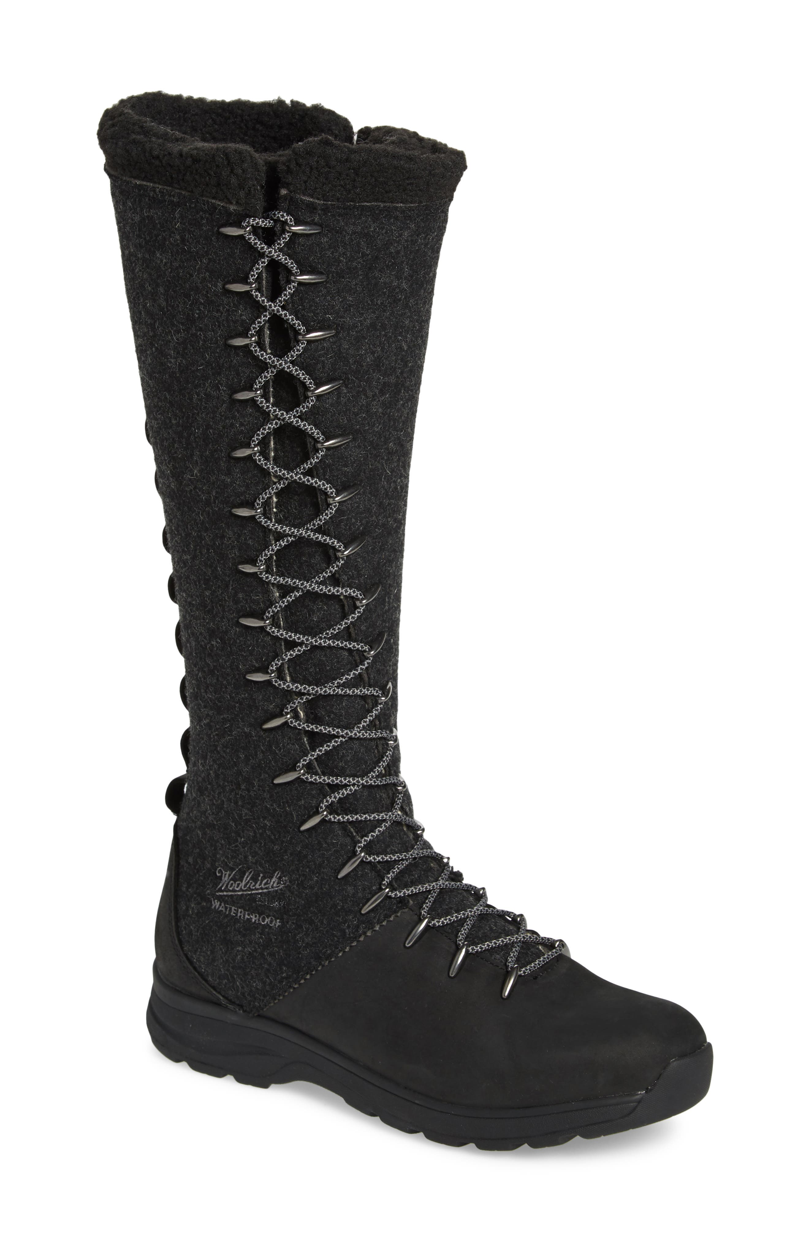 Crazy Rockies III Lace-Up Knee High Boot,                             Main thumbnail 1, color,                             BLACK WOOL