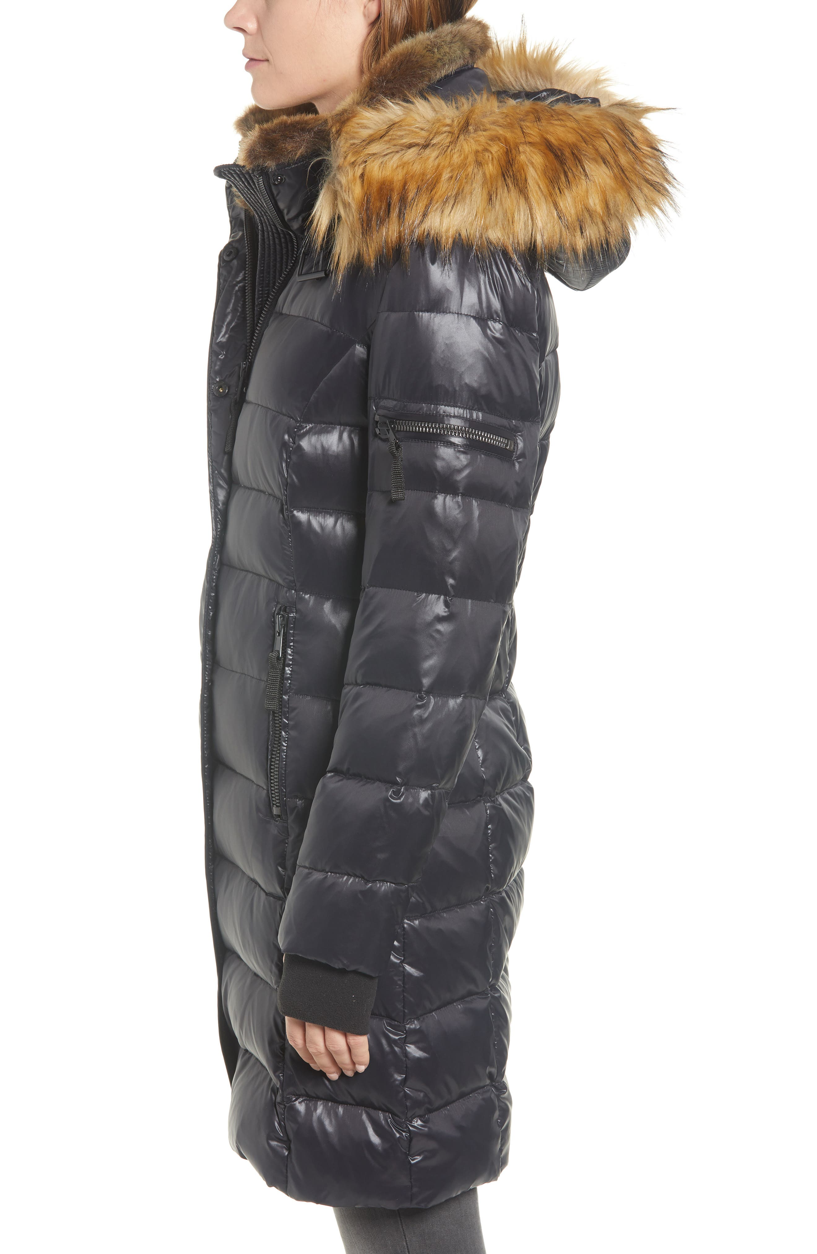 Uptown Down & Feather Fill Faux Fur Quilted Parka,                             Alternate thumbnail 3, color,                             002