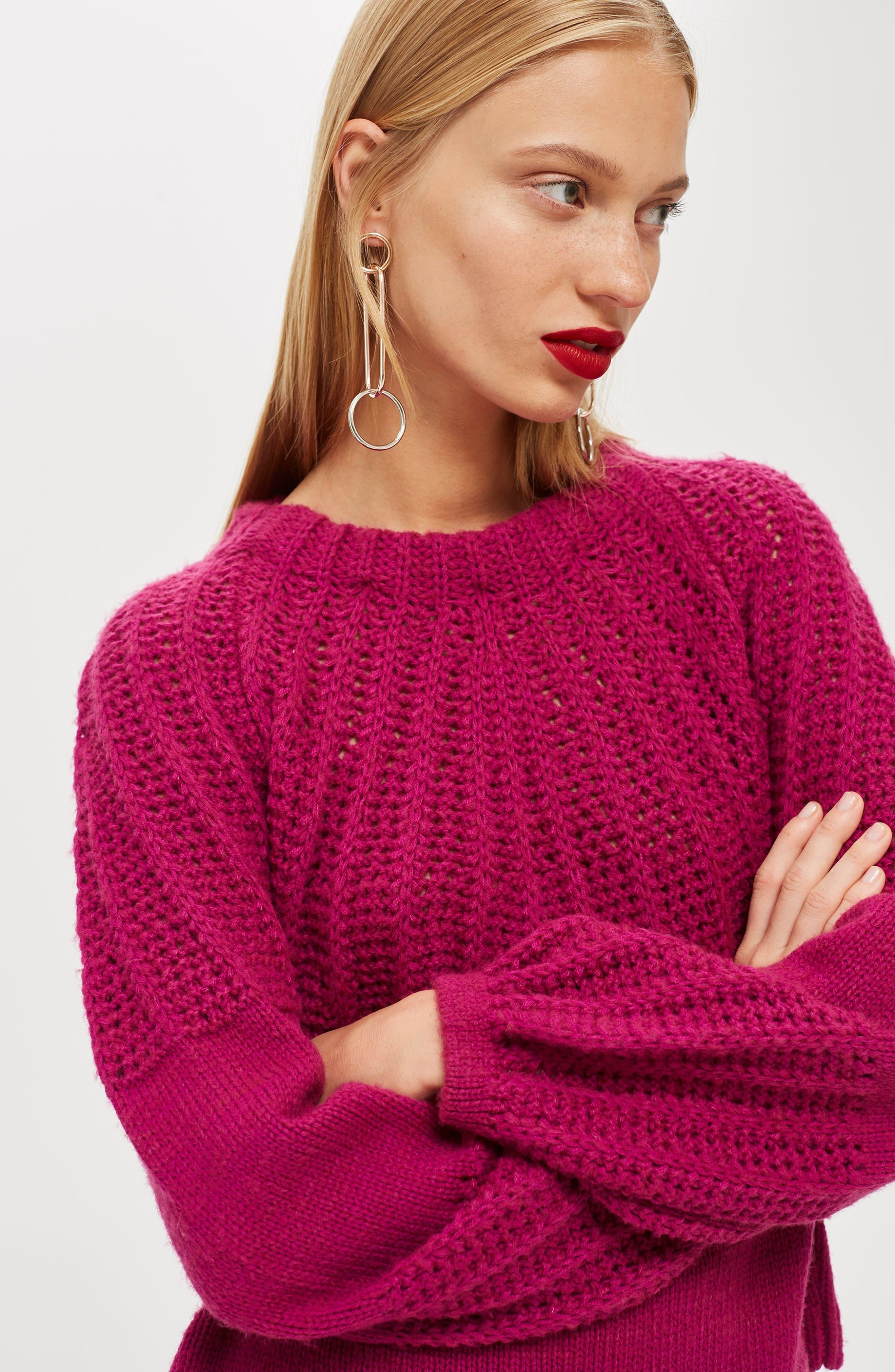 Pointelle Ball Sleeve Sweater,                             Alternate thumbnail 4, color,                             500