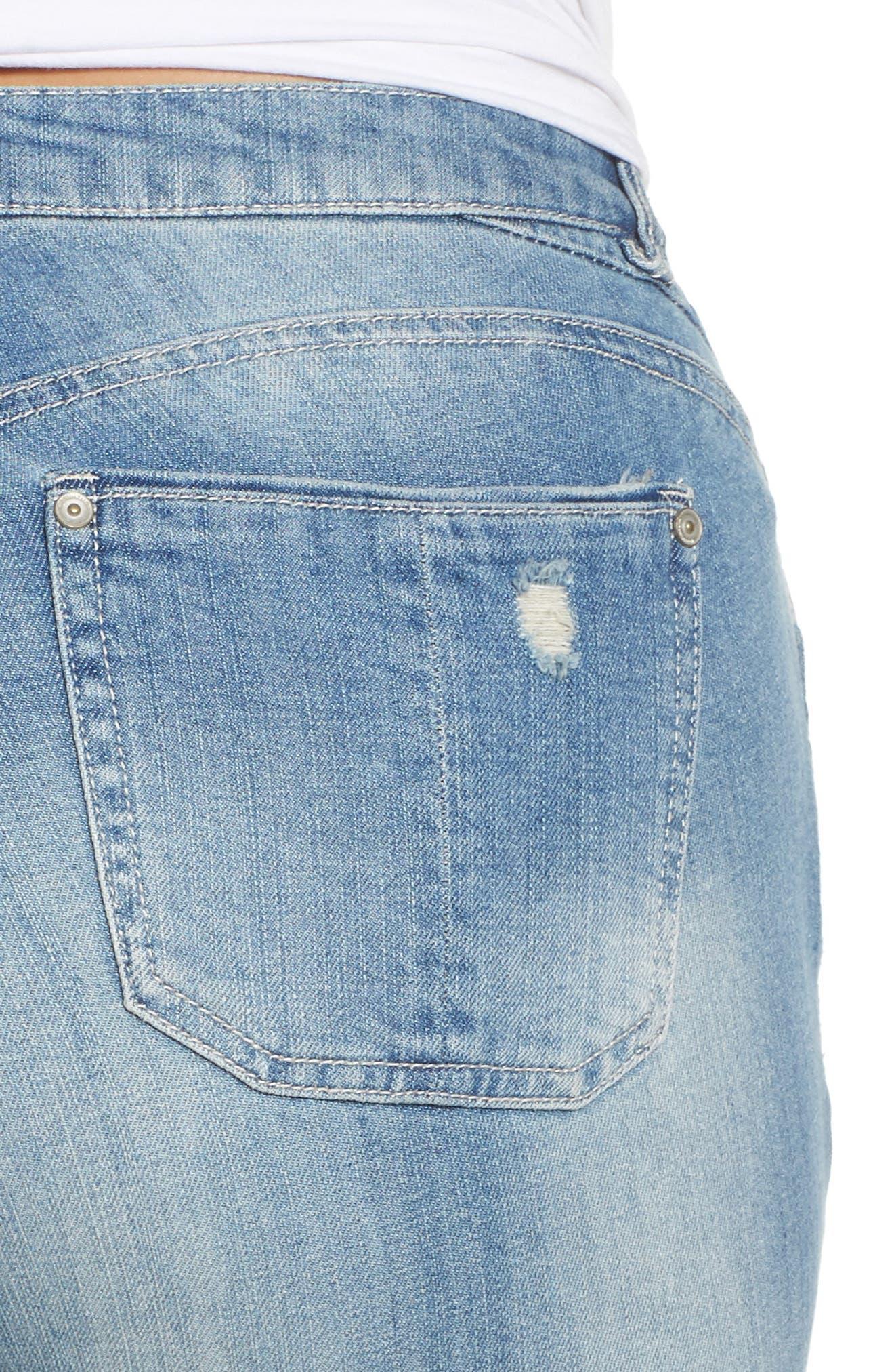 Patch Detail Destructed Girlfriend Jeans,                             Alternate thumbnail 4, color,                             458