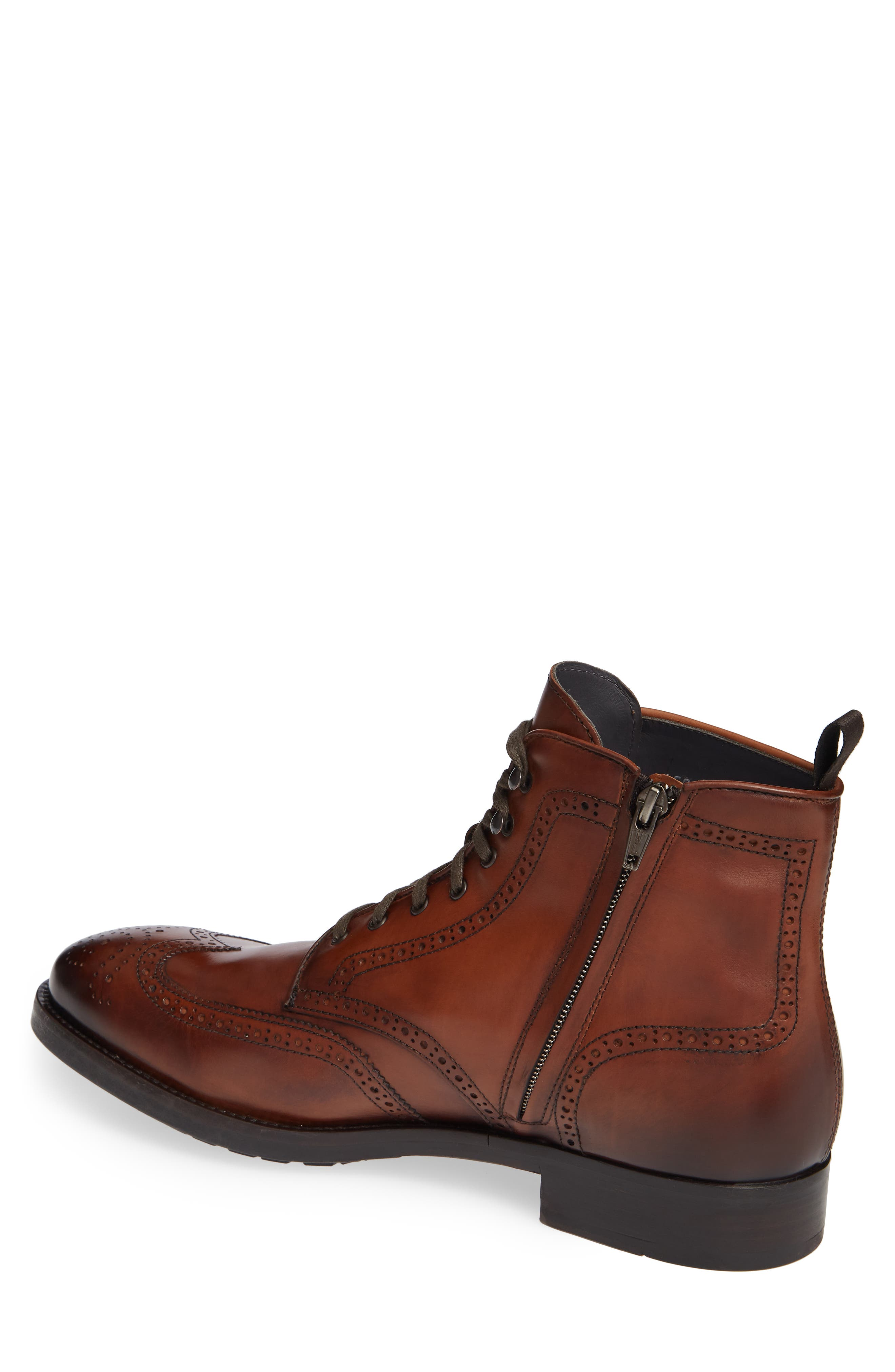 Auckland Wingtip Boot,                             Alternate thumbnail 2, color,                             BROWN LEATHER