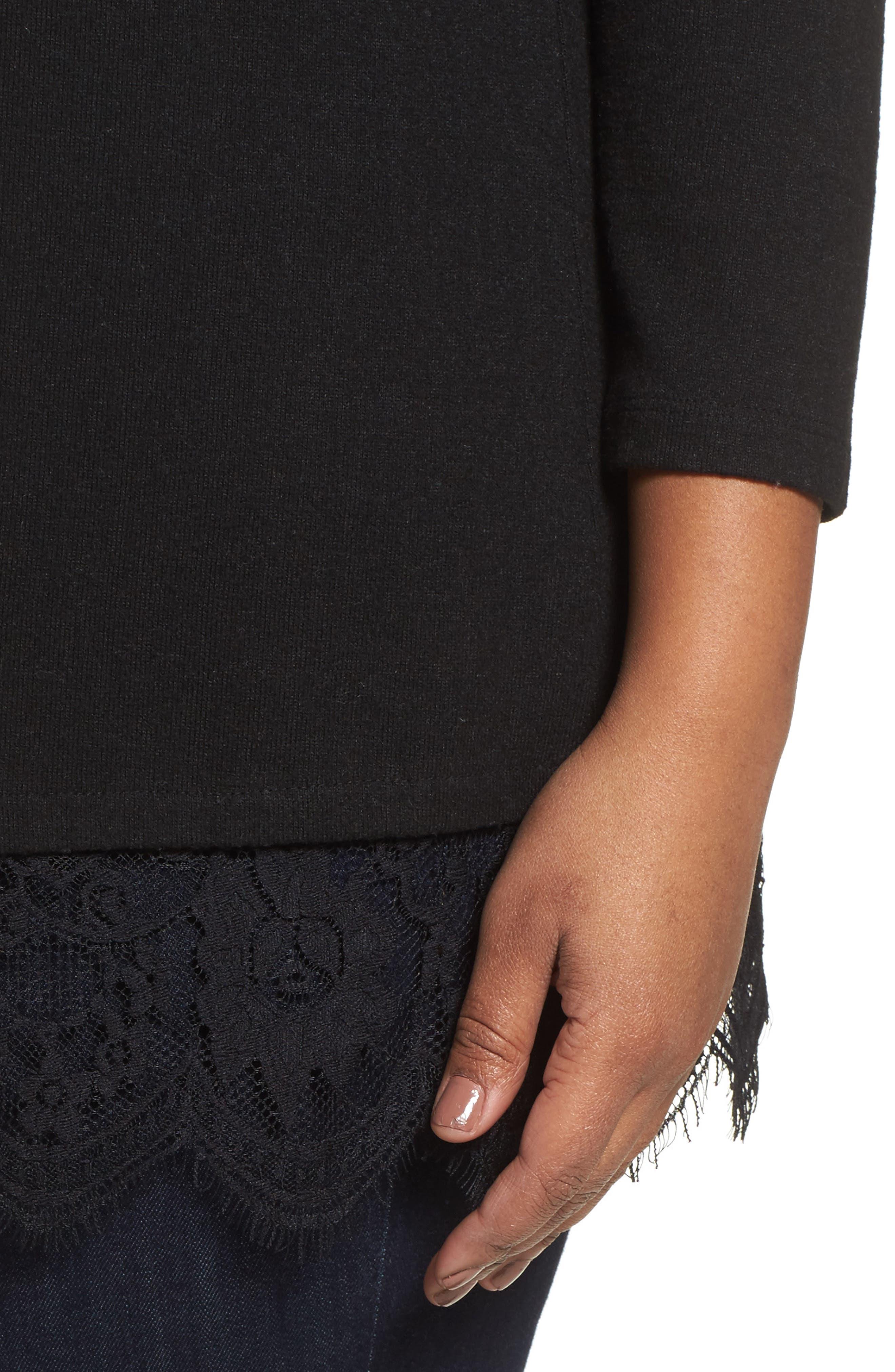 Lace Detail Cold Shoulder Top,                             Alternate thumbnail 4, color,                             006