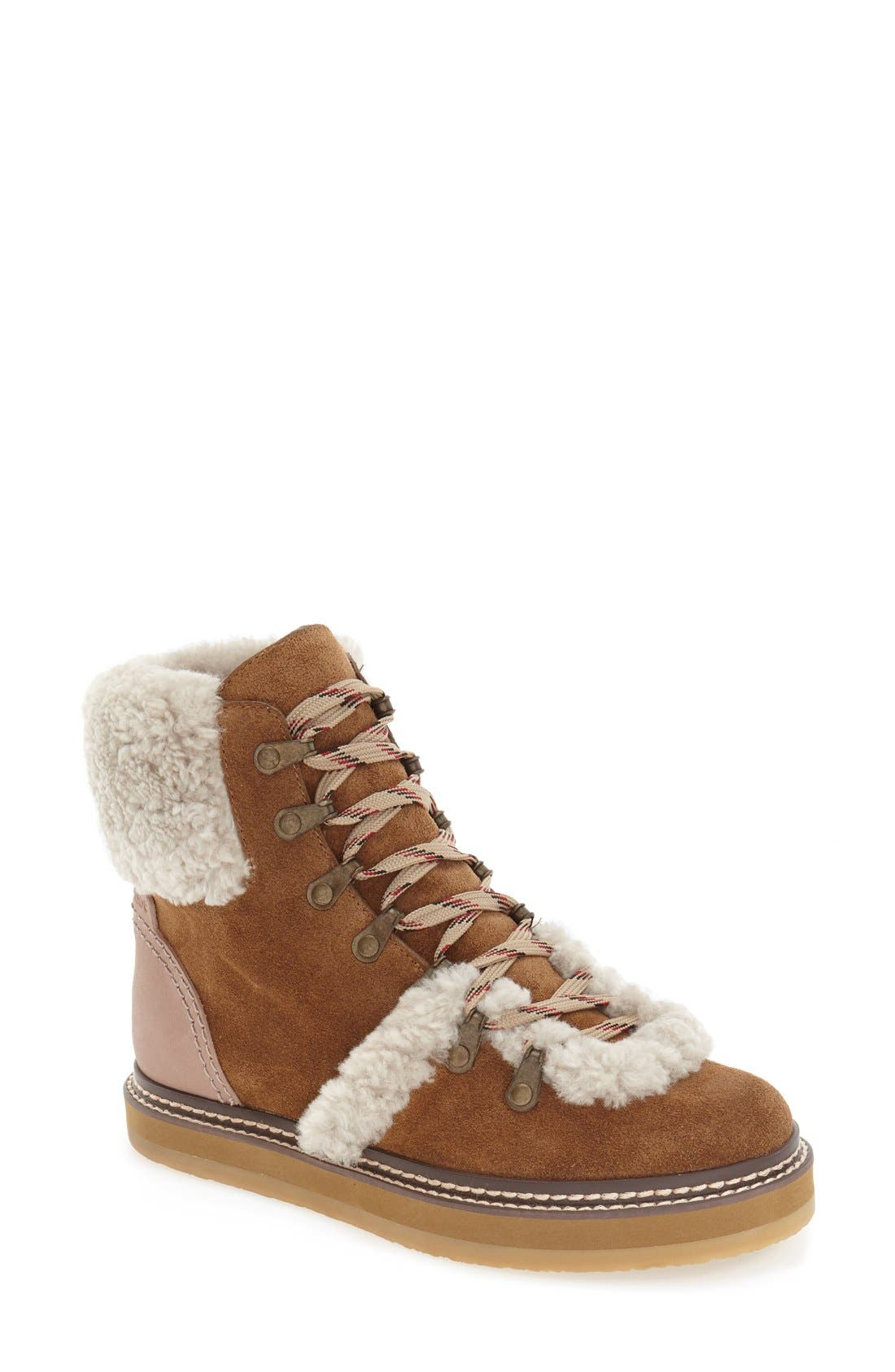 'Eileen' Genuine Shearling Boot,                             Main thumbnail 3, color,