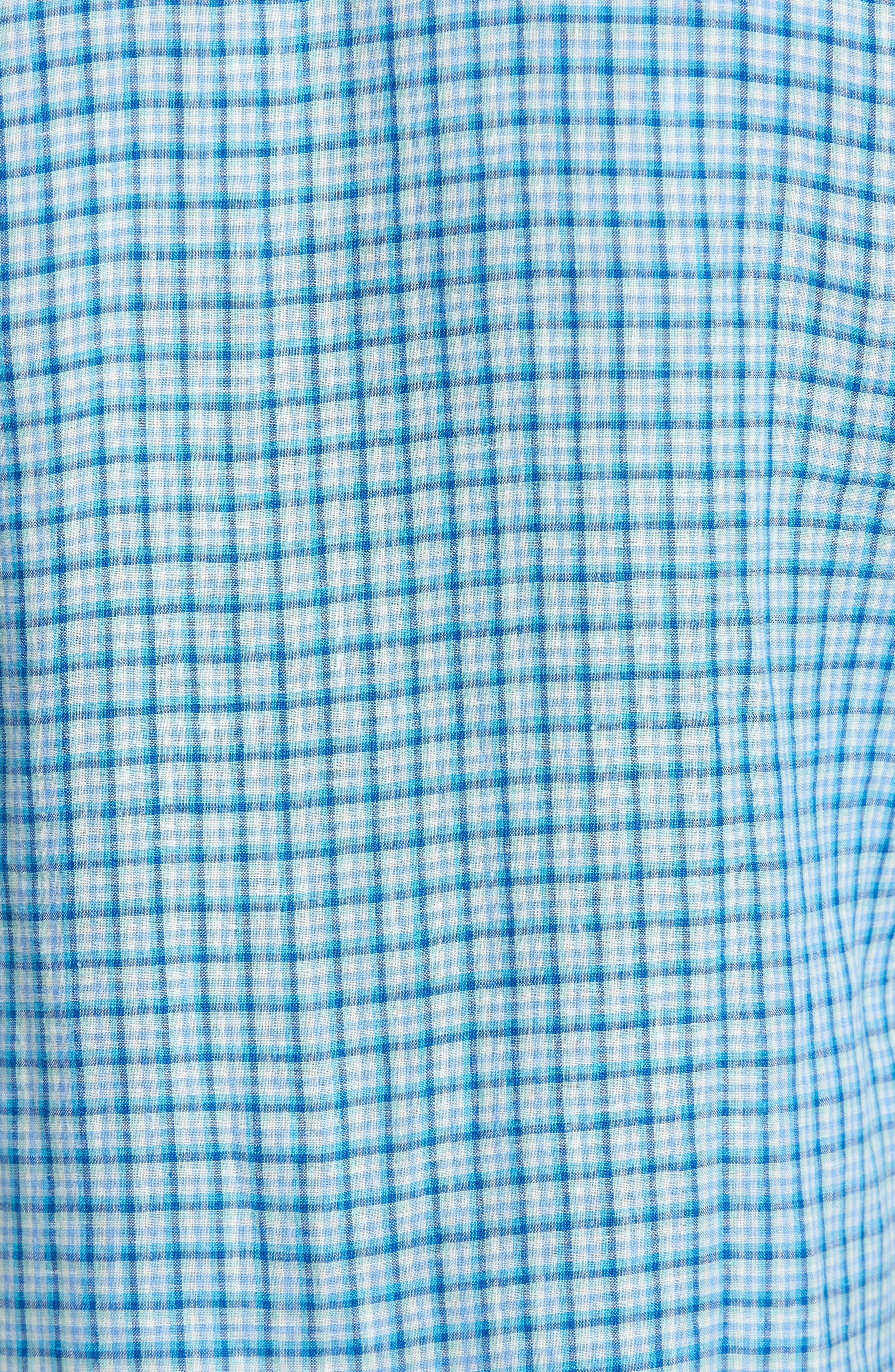Althoff Plaid Linen Sport Shirt,                             Alternate thumbnail 9, color,