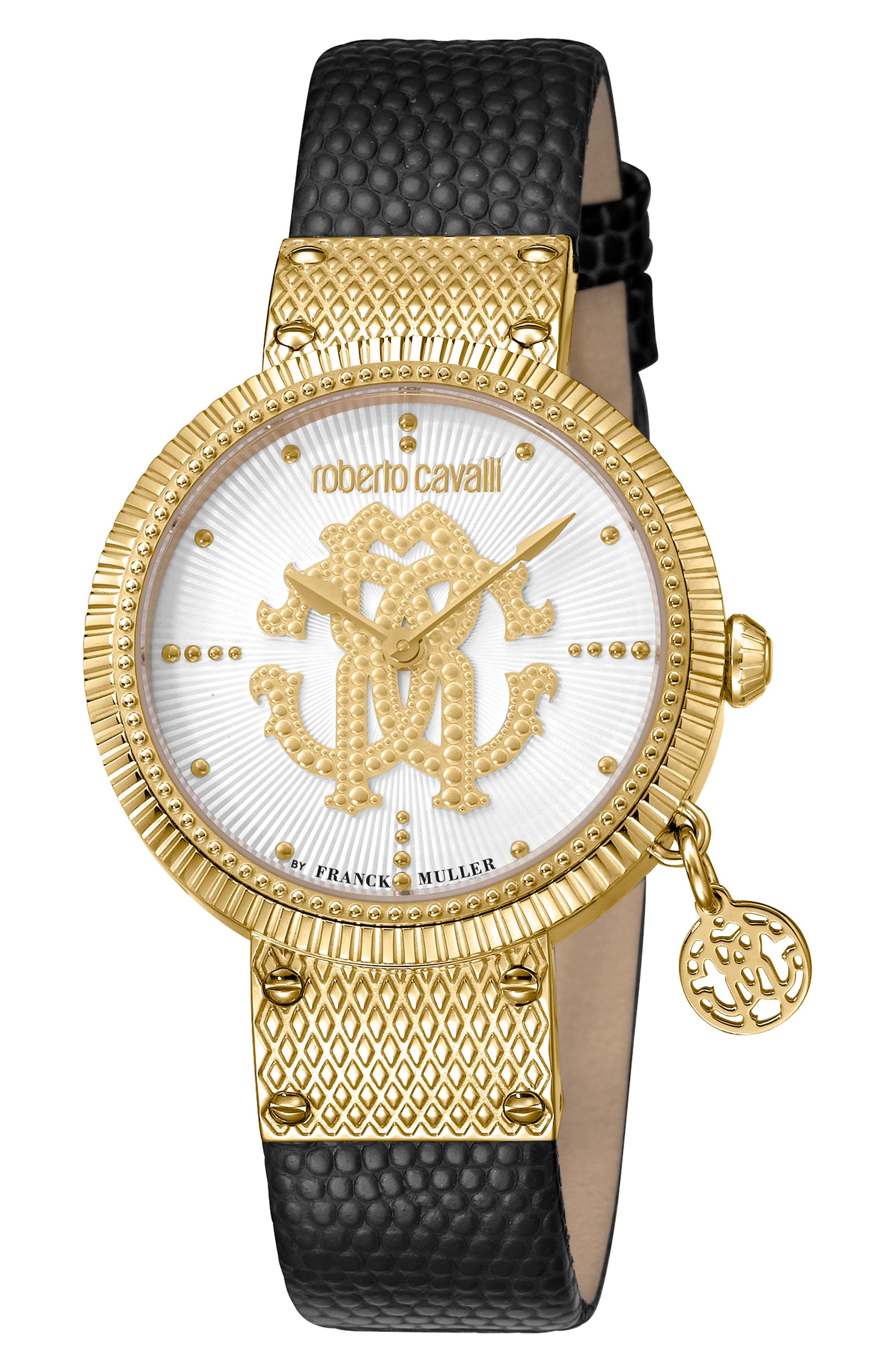 ROBERTO CAVALLI BY FRANCK MULLER Dotted Leather Strap Watch, 34Mm in Black/ Silver/ Gold