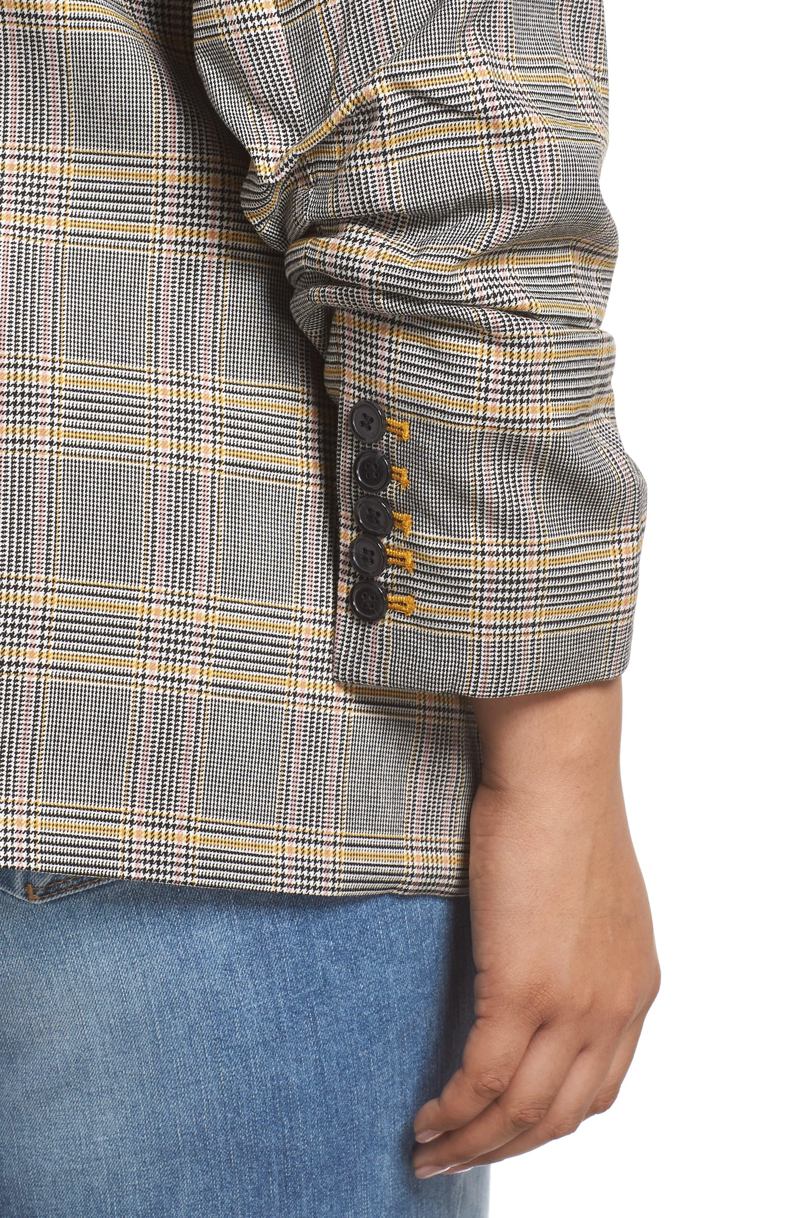 Plaid Ruched Sleeve Blazer,                             Alternate thumbnail 4, color,                             RICH BLACK
