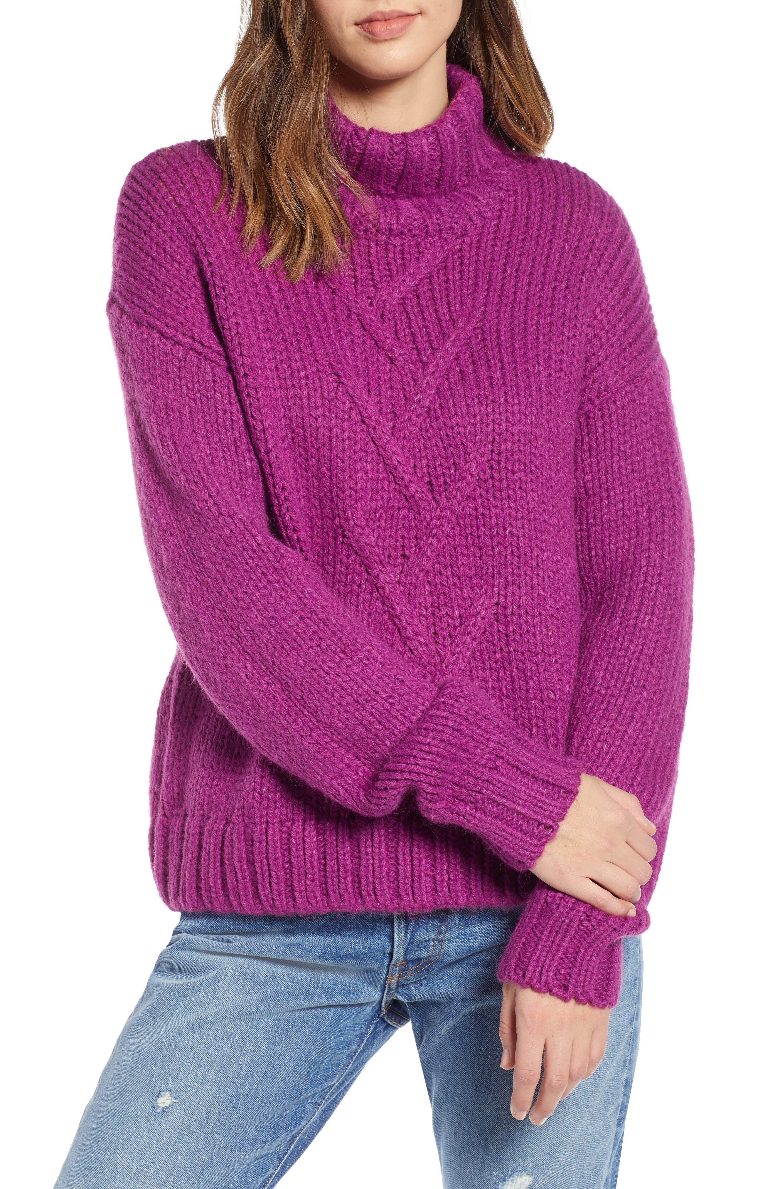 Kira Turtleneck Sweater, Main, color, HOLLYHOCK