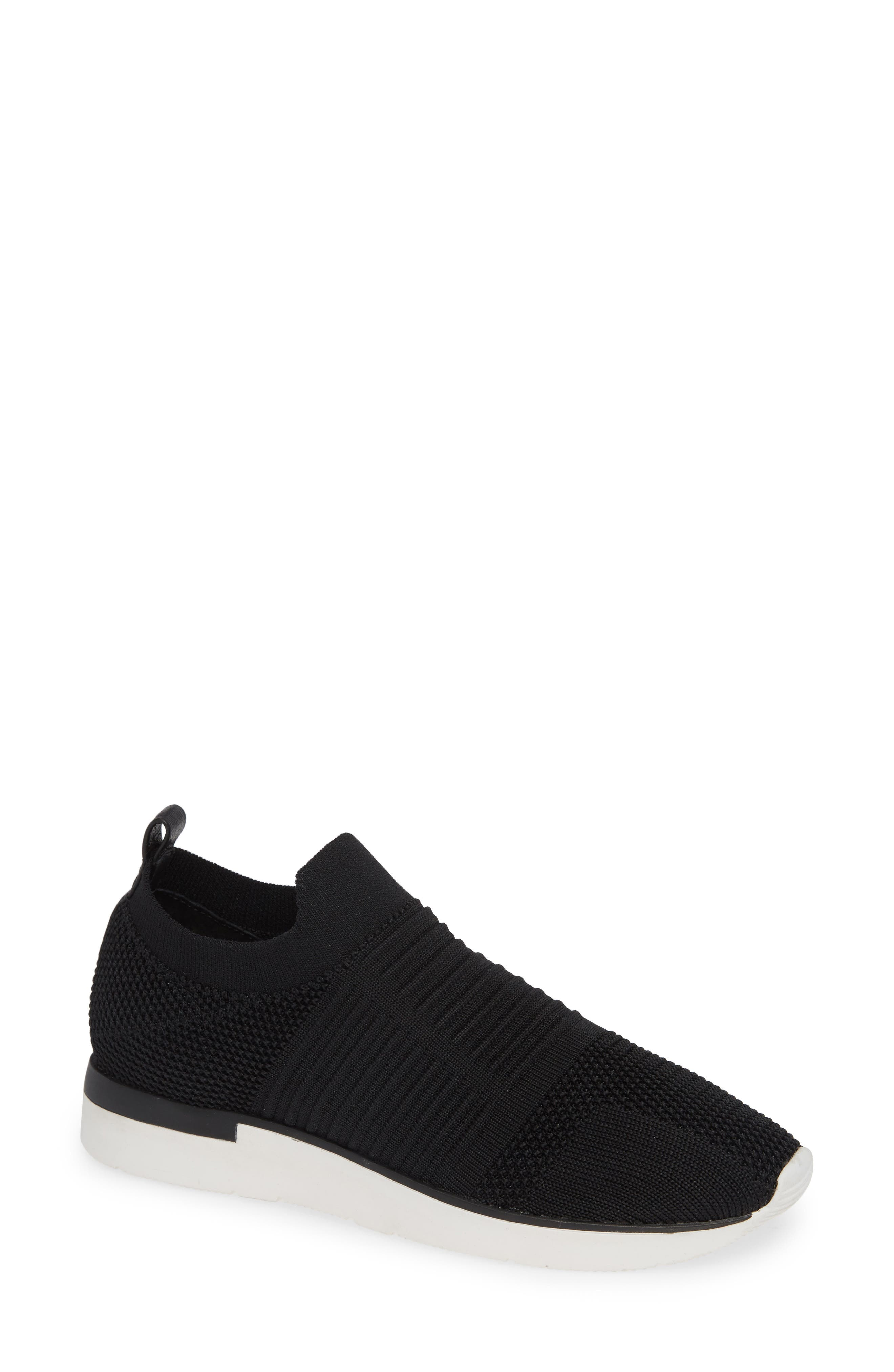 JSLIDES Great Sock Slip-On Sneaker in Black Knit Fabric