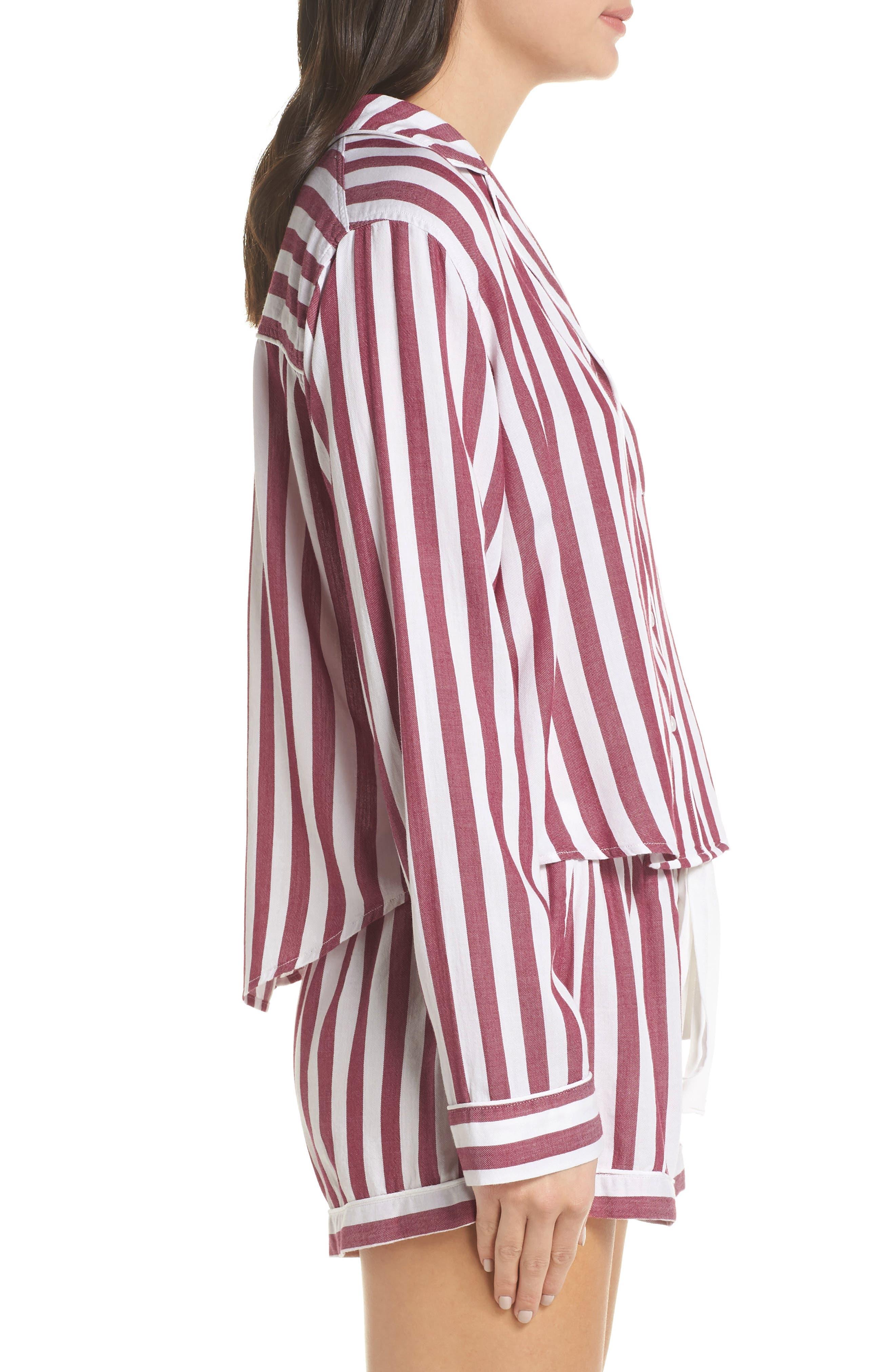 Stripe Short Pajamas,                             Alternate thumbnail 3, color,                             TOLEDO STRIPE