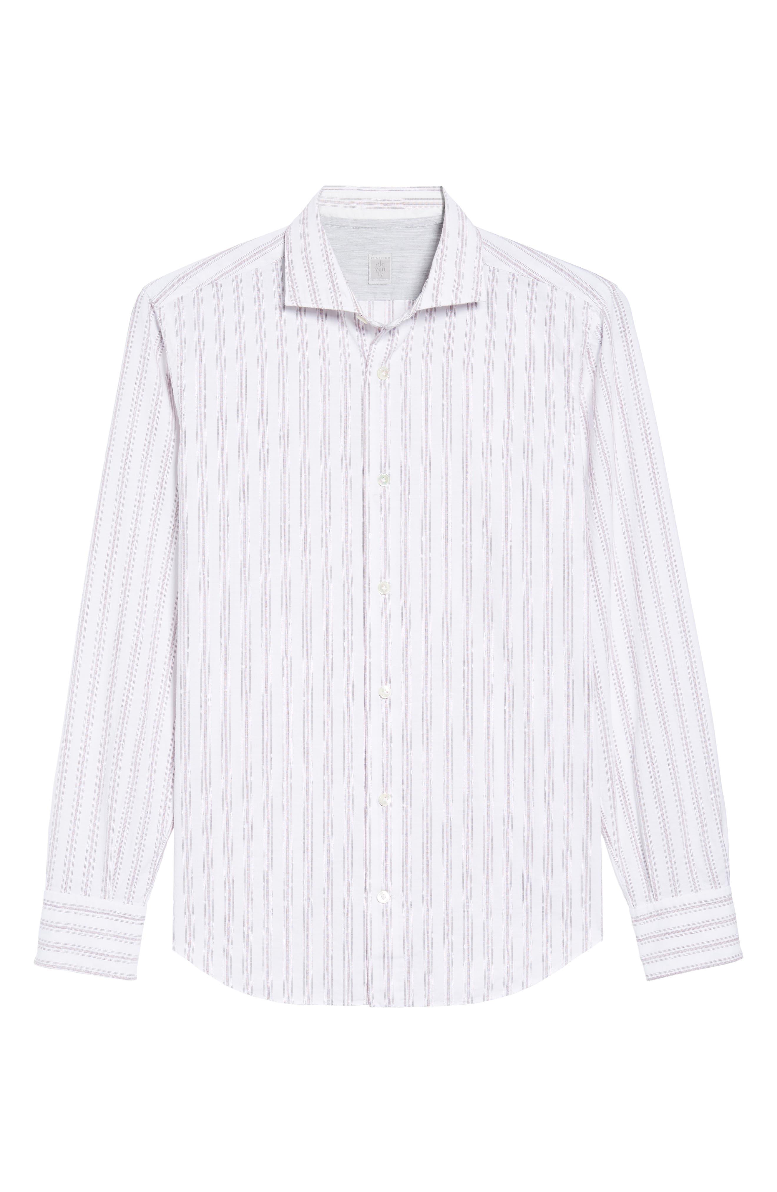 Aubergine Stripe Sport Shirt,                             Alternate thumbnail 6, color,
