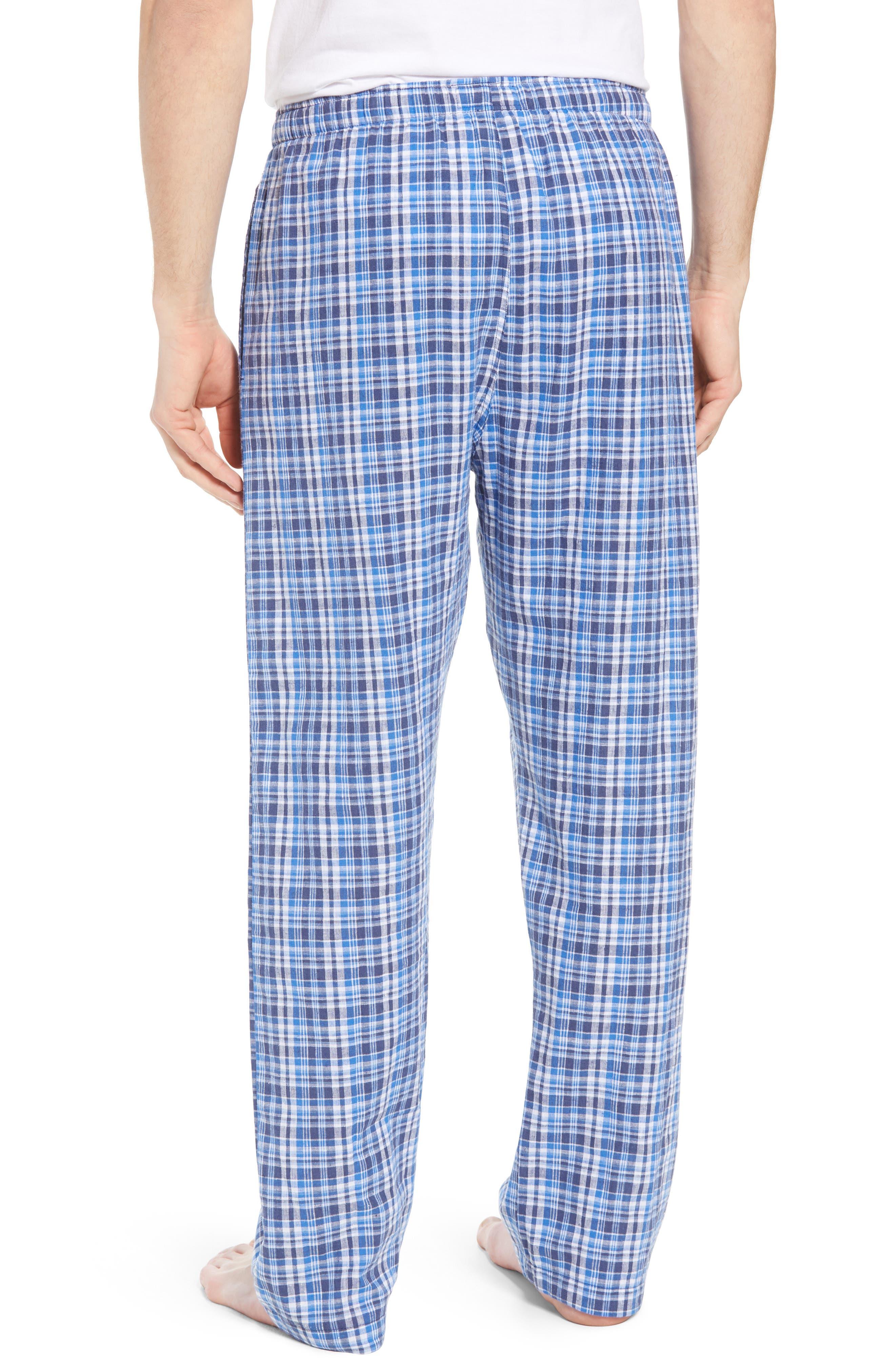 Walker Plaid Cotton & Linen Pajama Pants,                             Alternate thumbnail 2, color,                             WALKER PLAID/ CRUISE NAVY