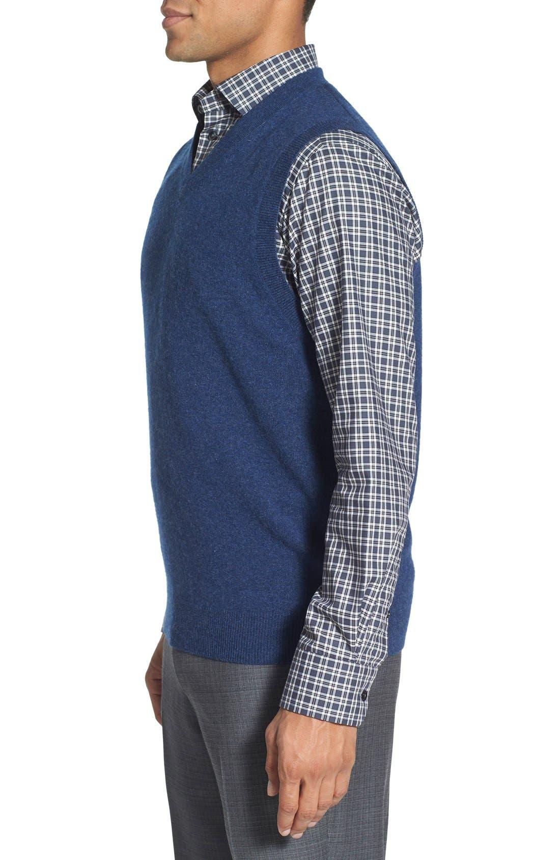 Cashmere V-Neck Sweater Vest,                             Alternate thumbnail 9, color,                             BLUE ESTATE HEATHER