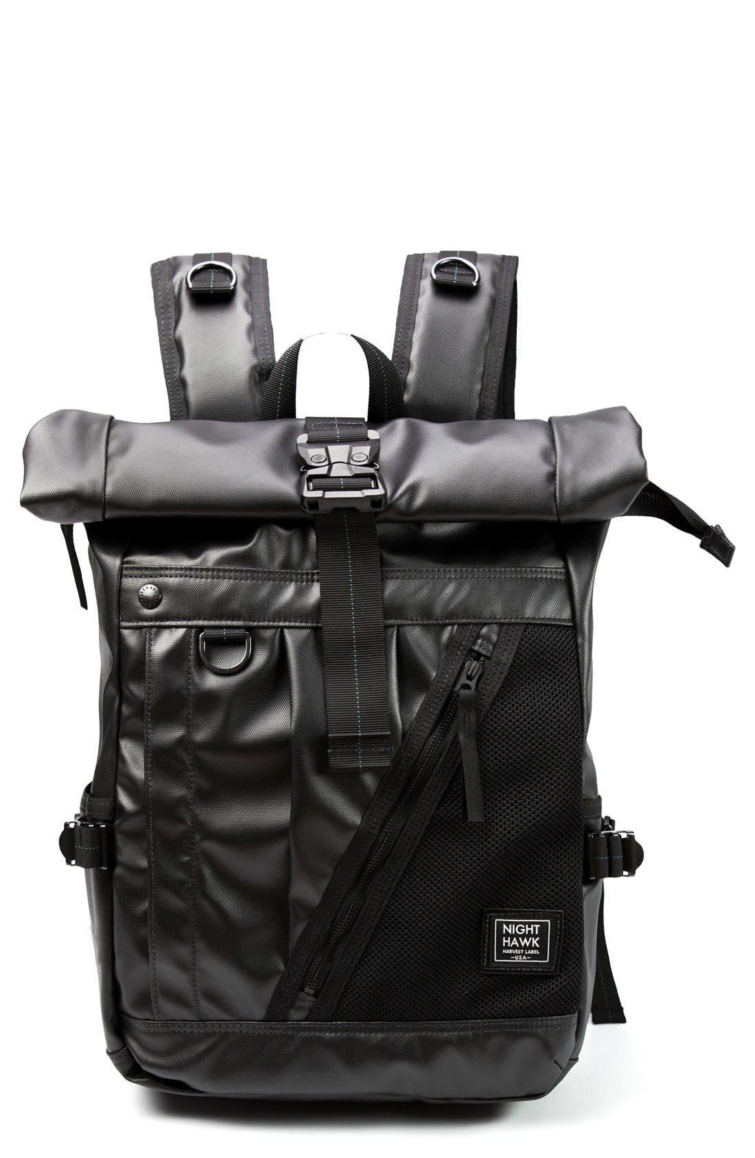 NightHawk Roll Top Backpack,                             Main thumbnail 1, color,                             BLACK