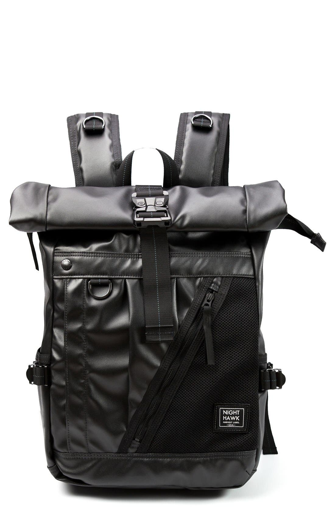 NightHawk Roll Top Backpack,                         Main,                         color, BLACK
