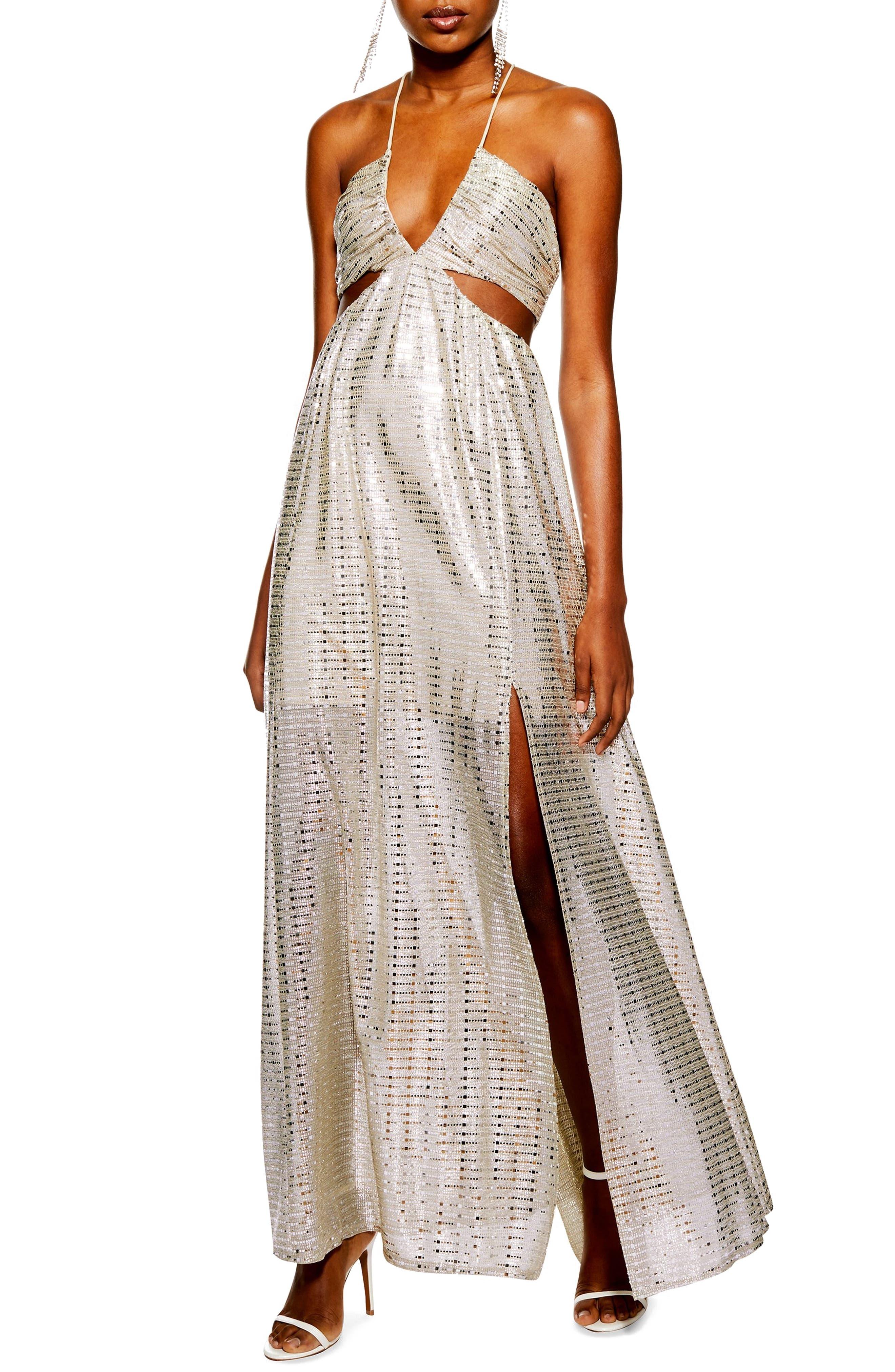 Topshop La Glitter Cutout Maxi Dress, US (fits like 6-8) - Metallic