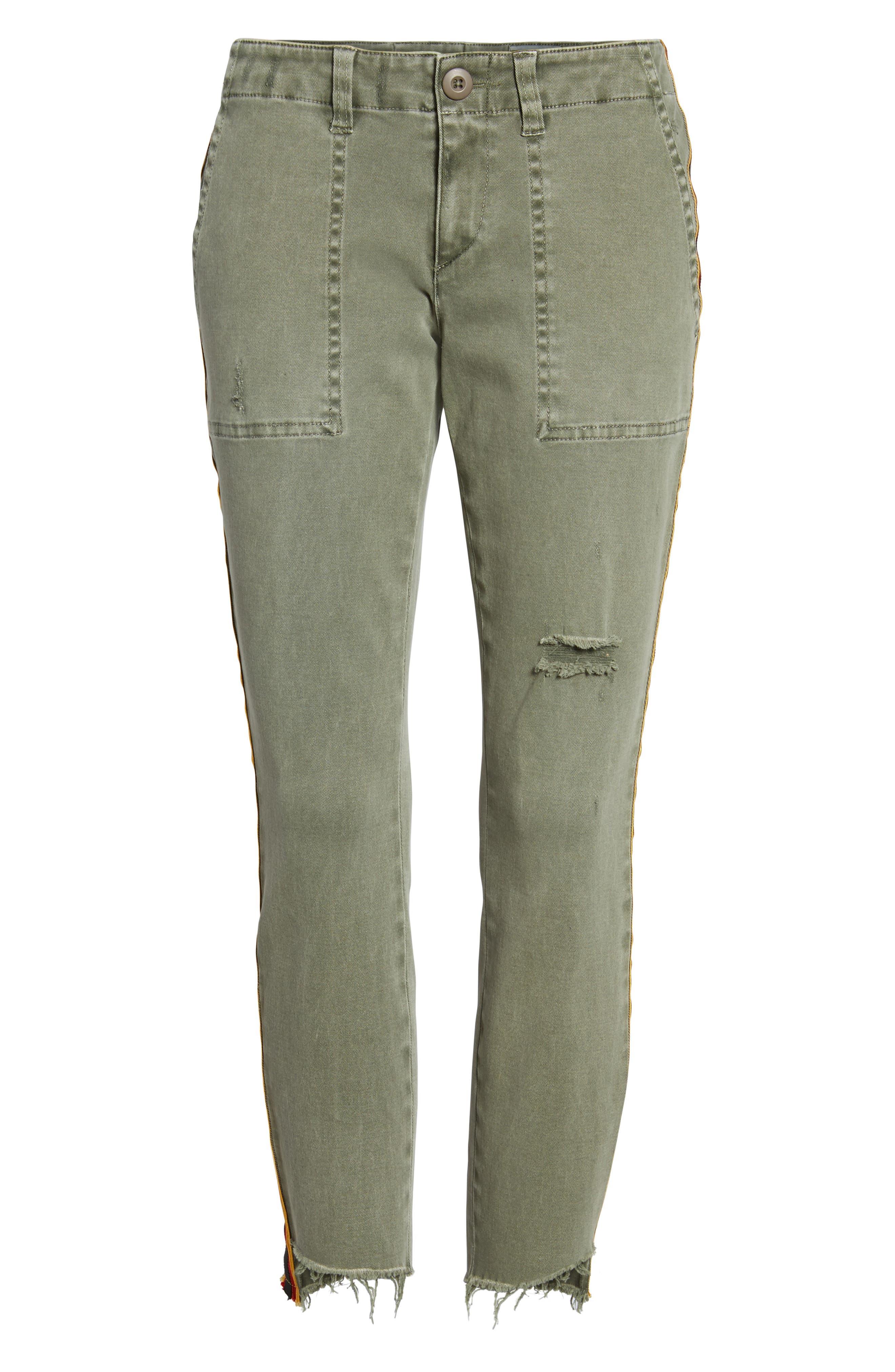 Uniform Stripe Step Hem Pants,                             Alternate thumbnail 7, color,                             MILITIA