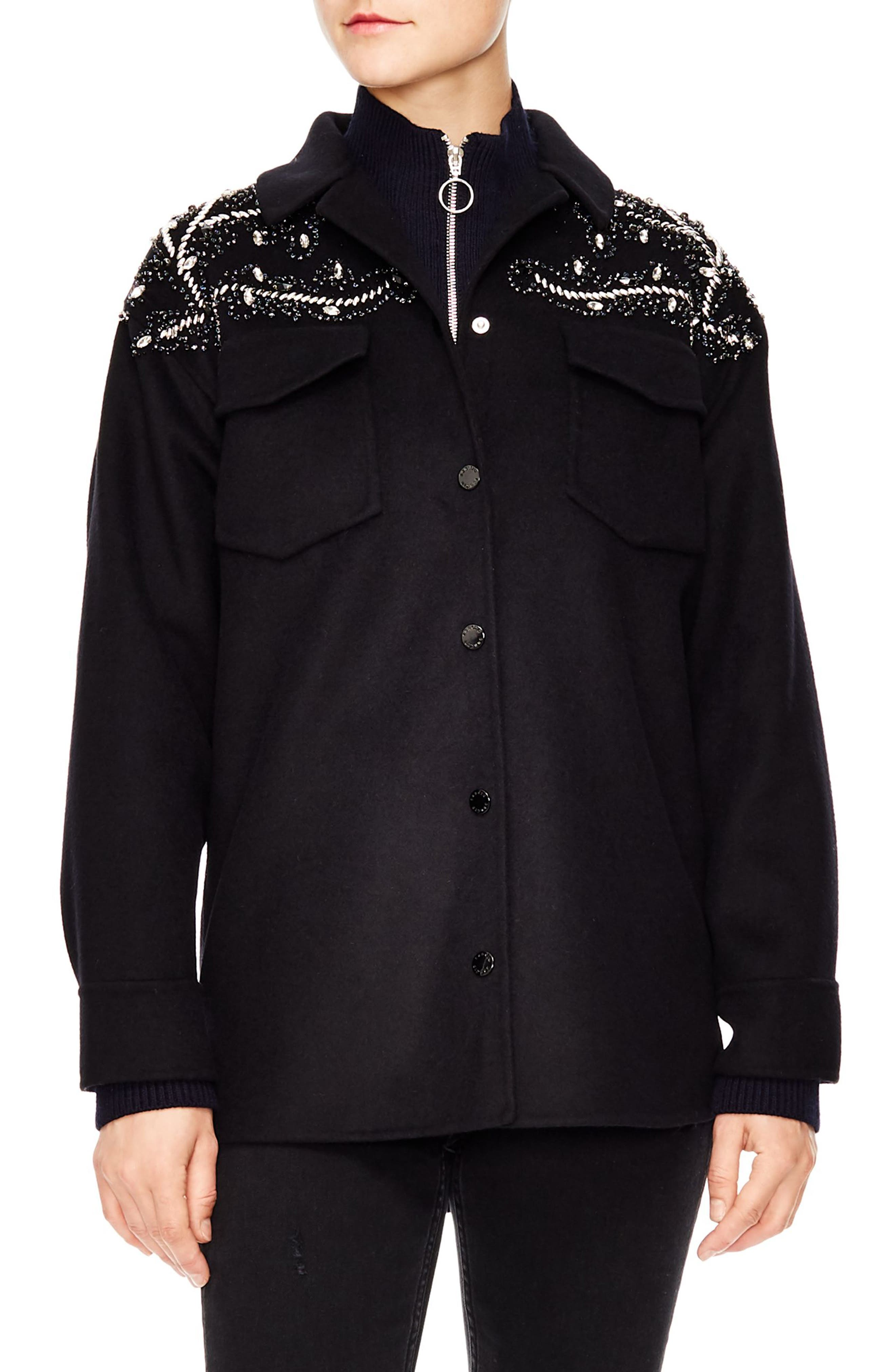 Notting Hill Versaille Sequin & Beaded Jacket in Black