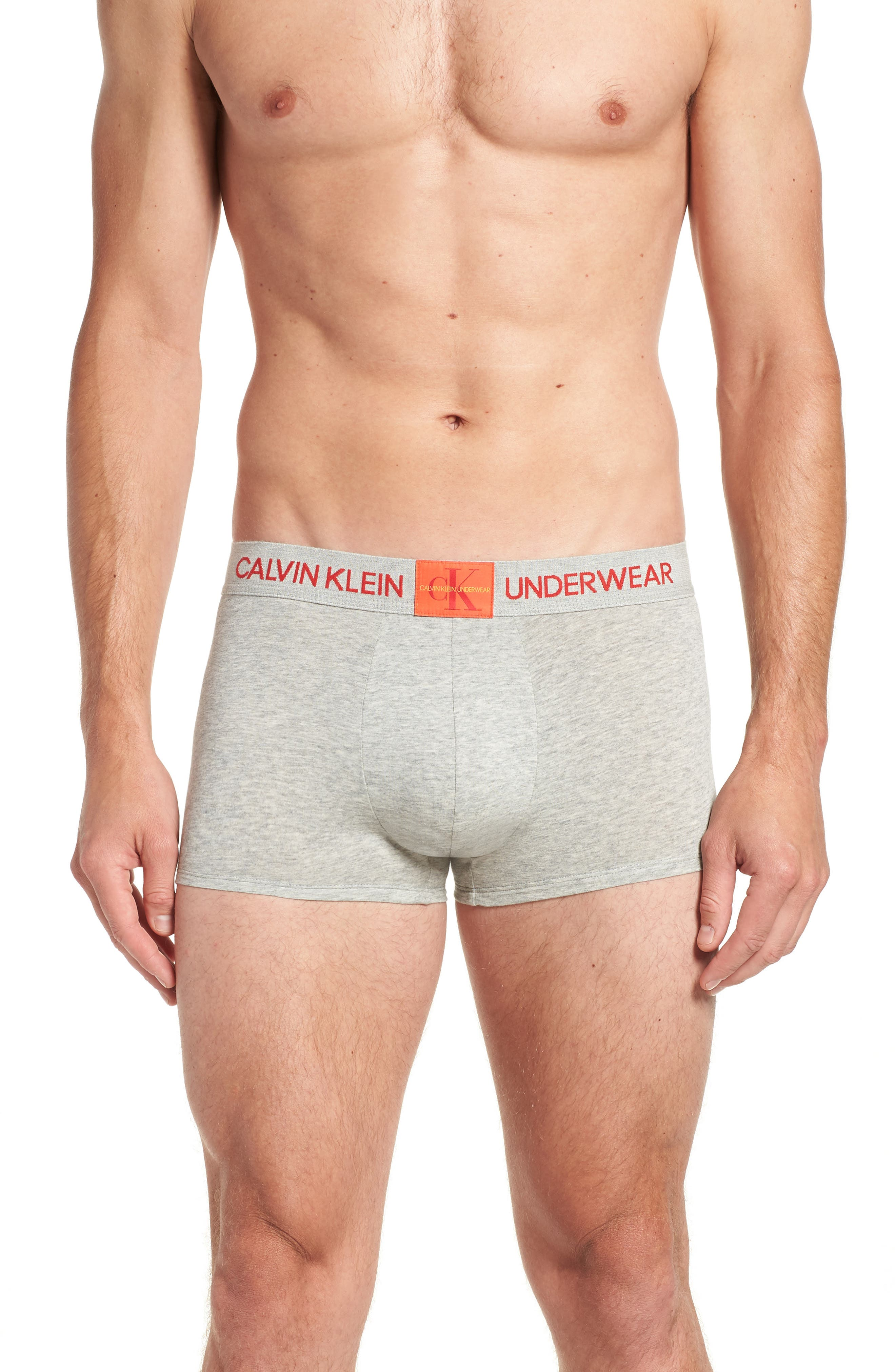 Cotton Trunks,                             Main thumbnail 1, color,                             GREY HEATHER/ SPICY ORANGE