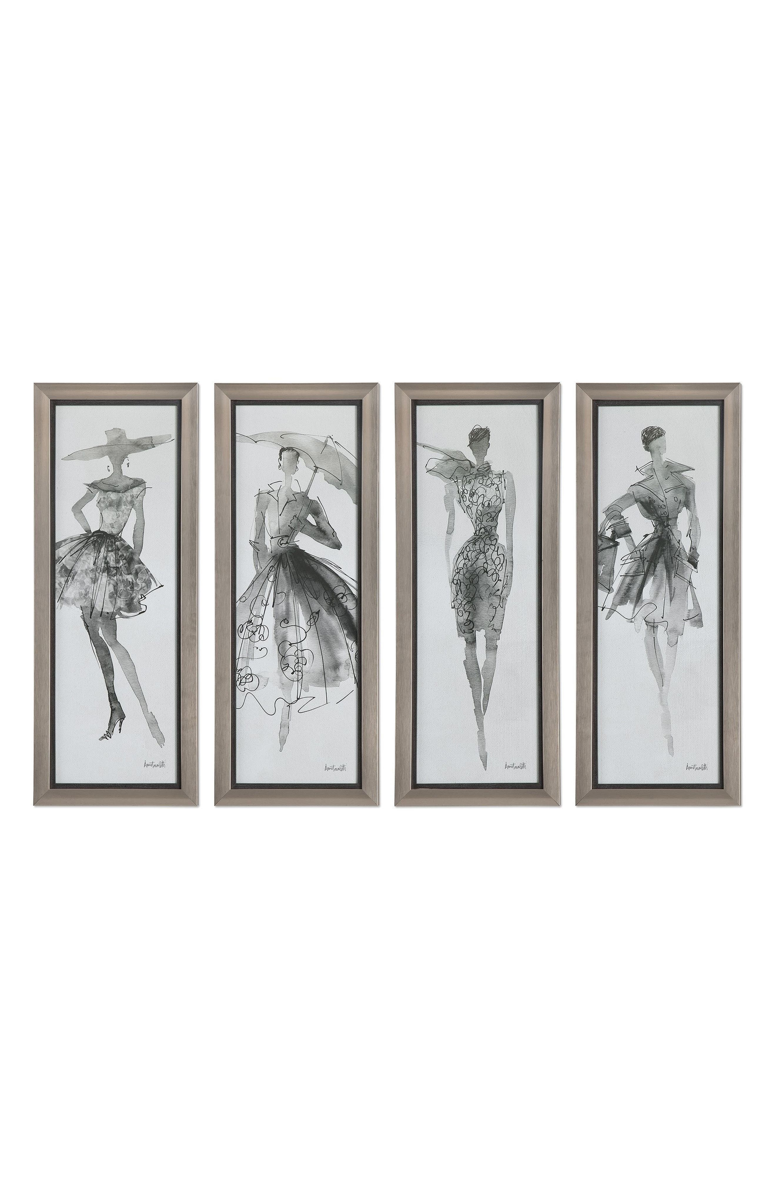 Fashion Sketchbook 4-Piece Wall Art Set,                             Main thumbnail 1, color,