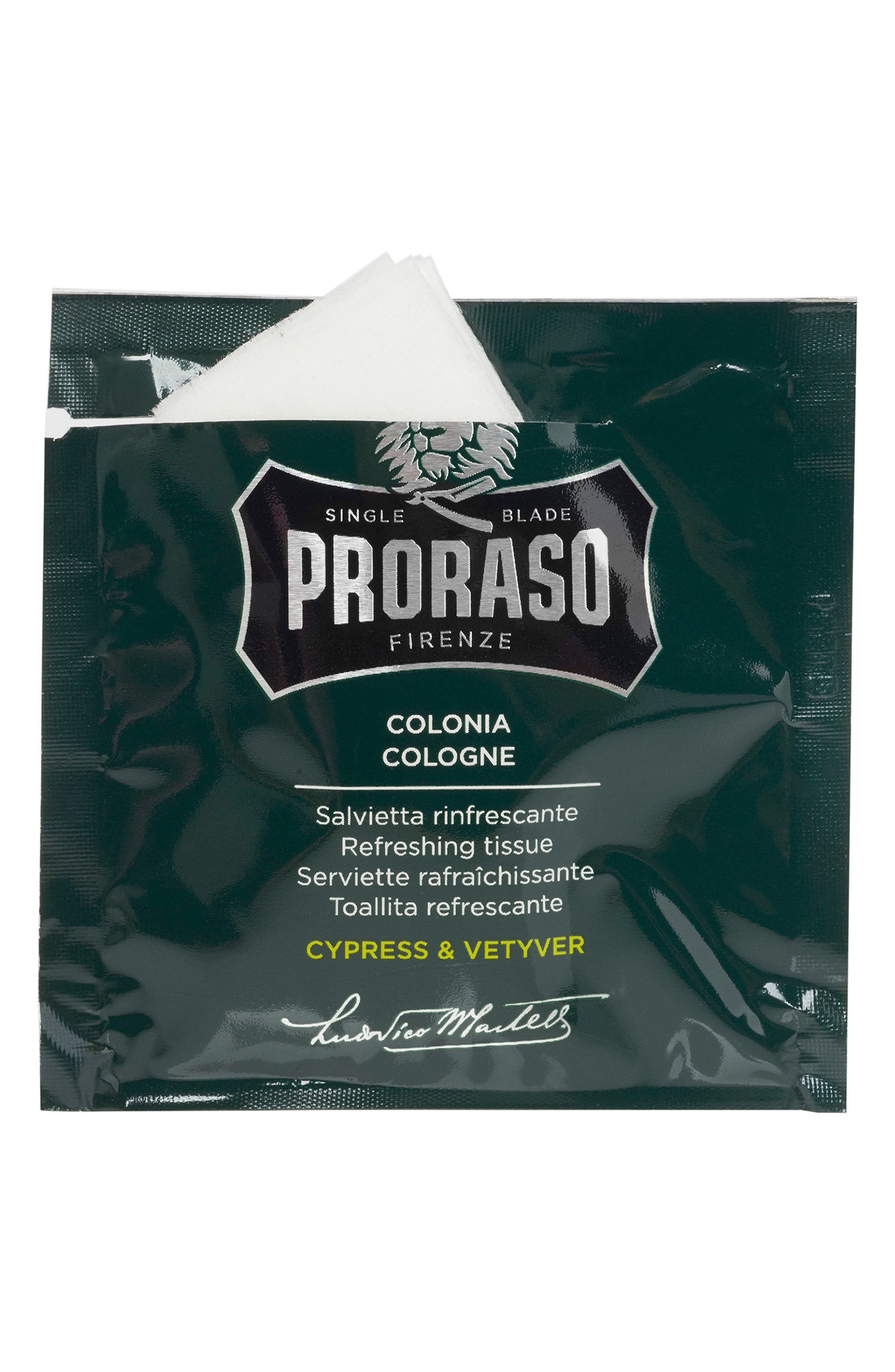 PRORASO Men's Grooming Cypress & Vetyver Refreshing Tissues, Main, color, NO COLOR