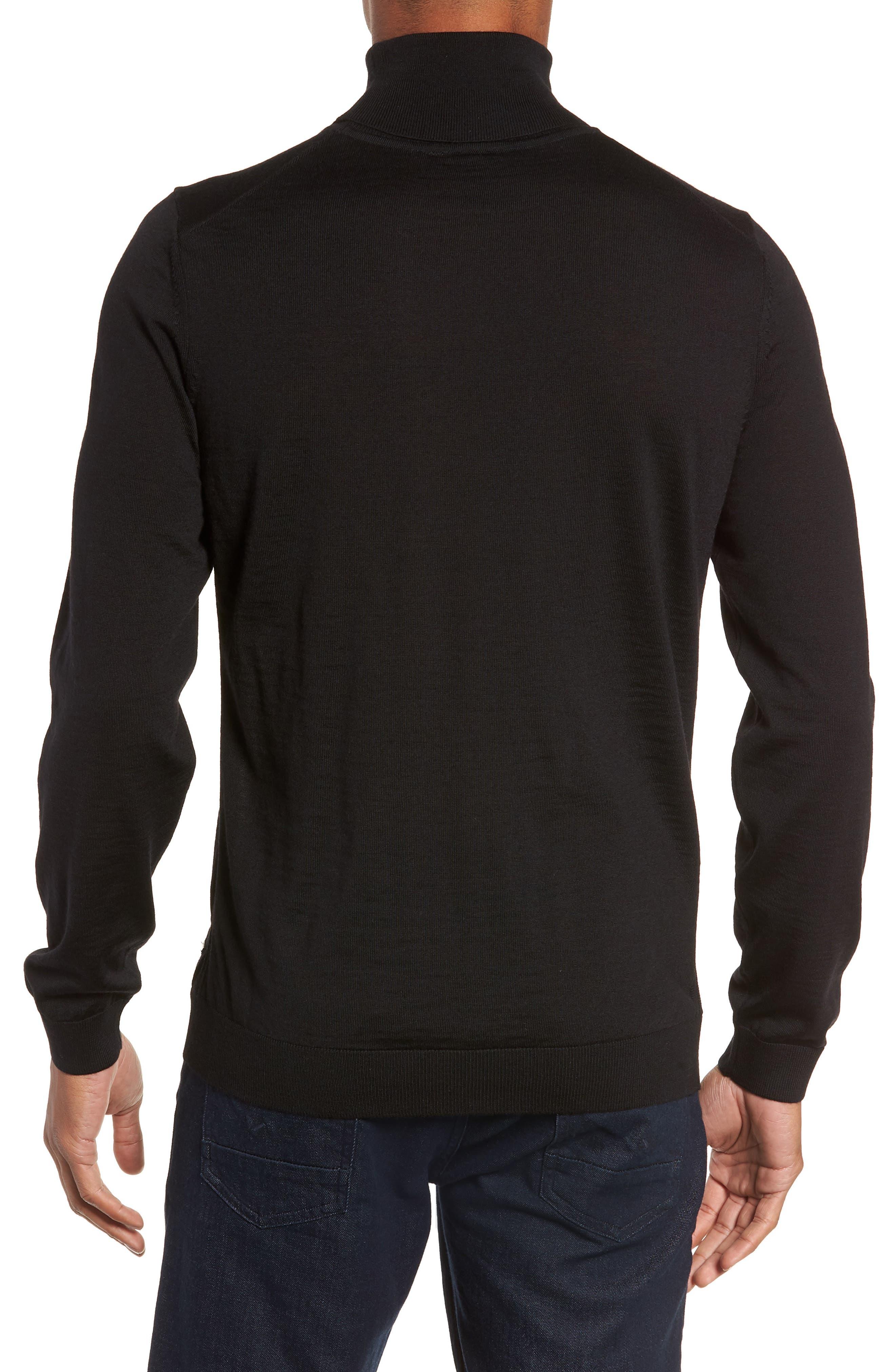 Musso Slim Fit Wool Turtleneck Sweater,                             Alternate thumbnail 2, color,                             BLACK