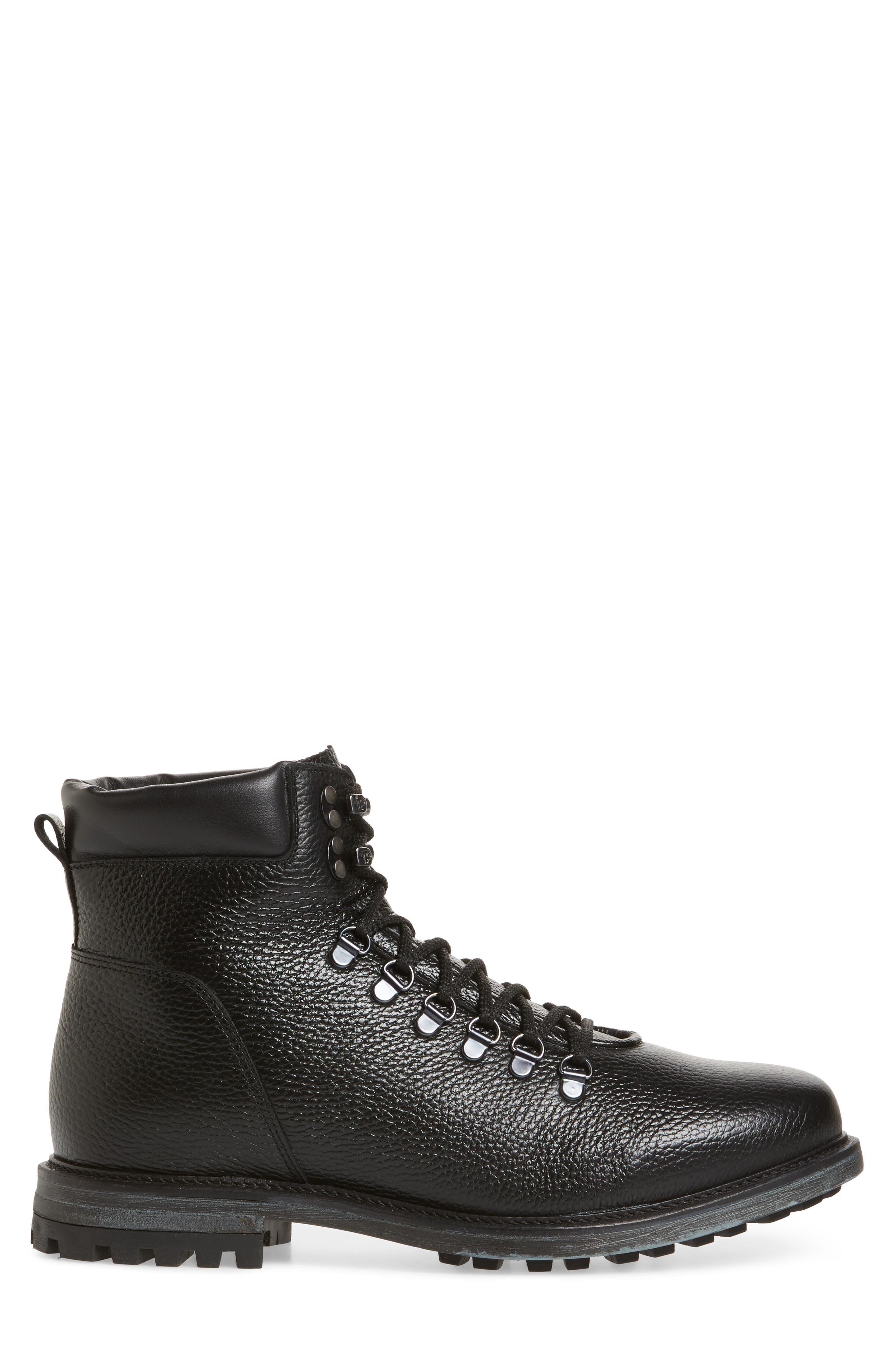 Venice Genuine Shearling Lined Plain Toe Boot,                             Alternate thumbnail 3, color,                             BLACK LEATHER