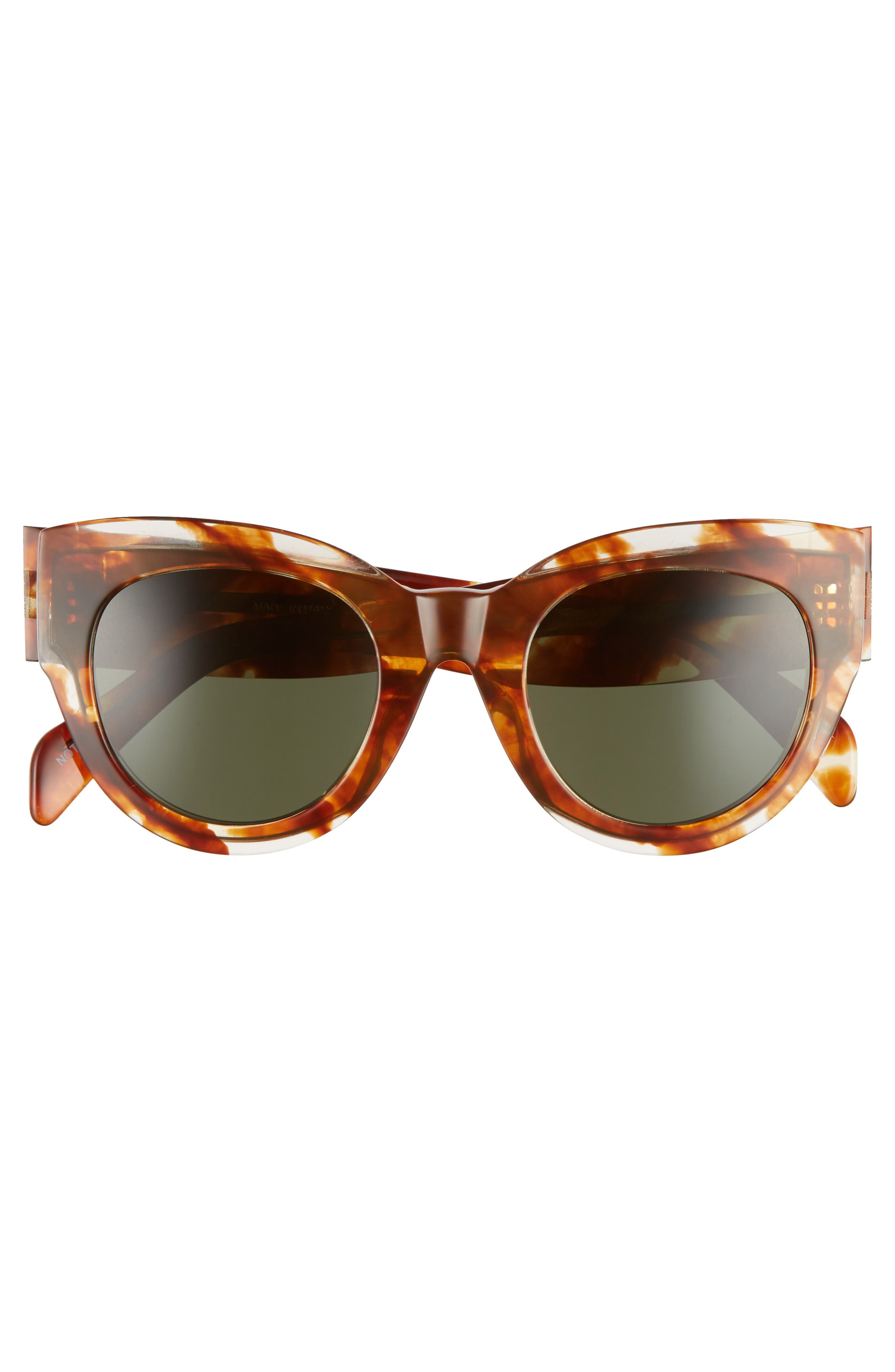 Special Fit 50mm Cat Eye Sunglasses,                             Alternate thumbnail 3, color,                             STRIPED COGNAC HAVANA/ GREEN