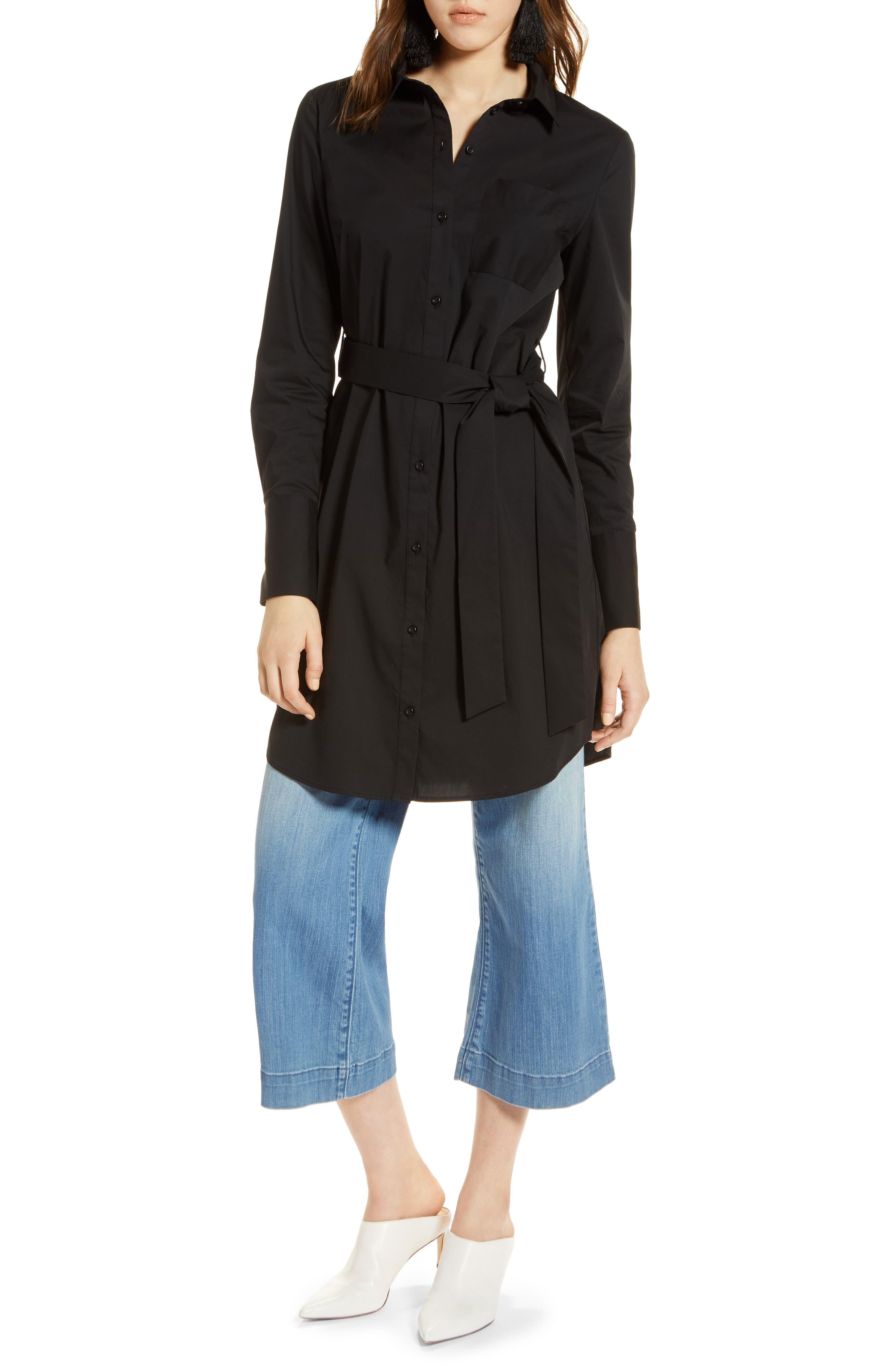 Stretch Cotton Poplin Shirtdress,                         Main,                         color, 001