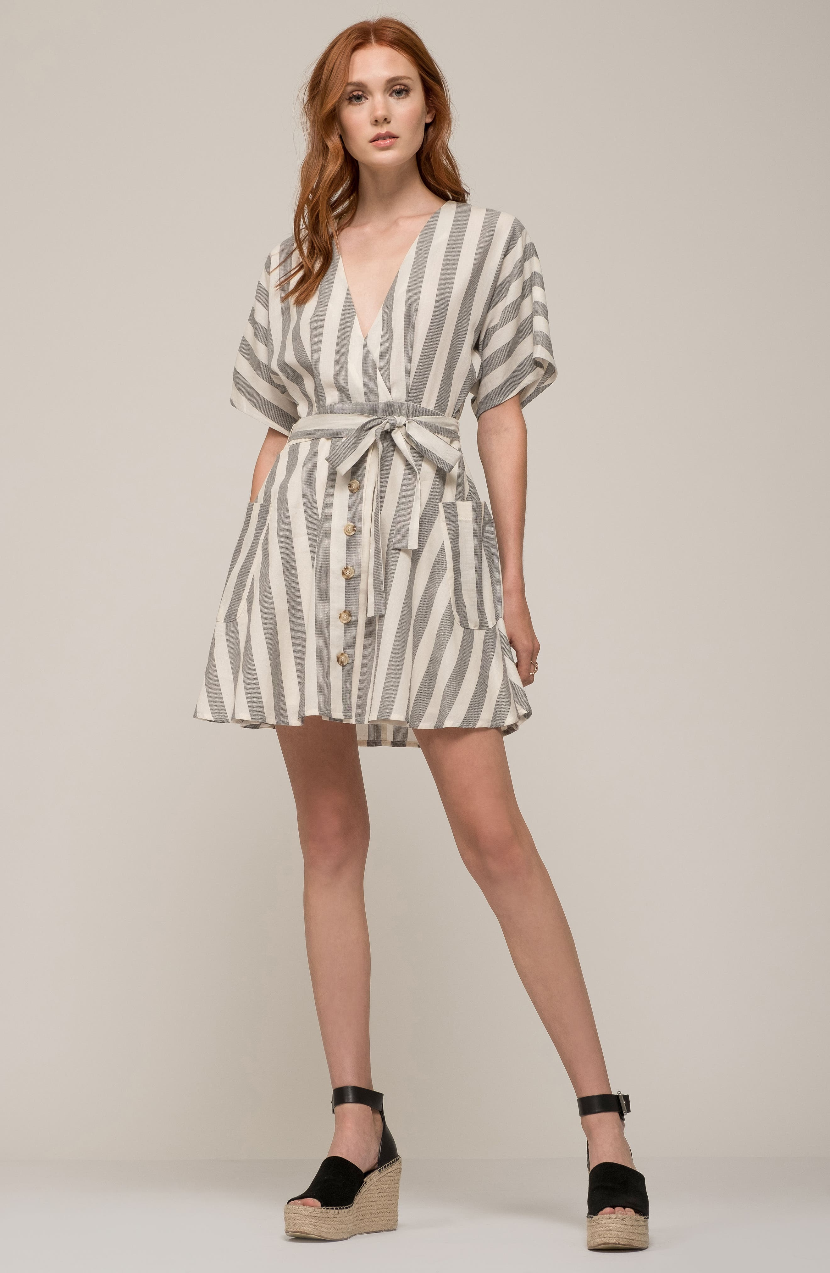 Stripe Cotton Wrap Dress,                             Alternate thumbnail 8, color,                             RED STRIPE