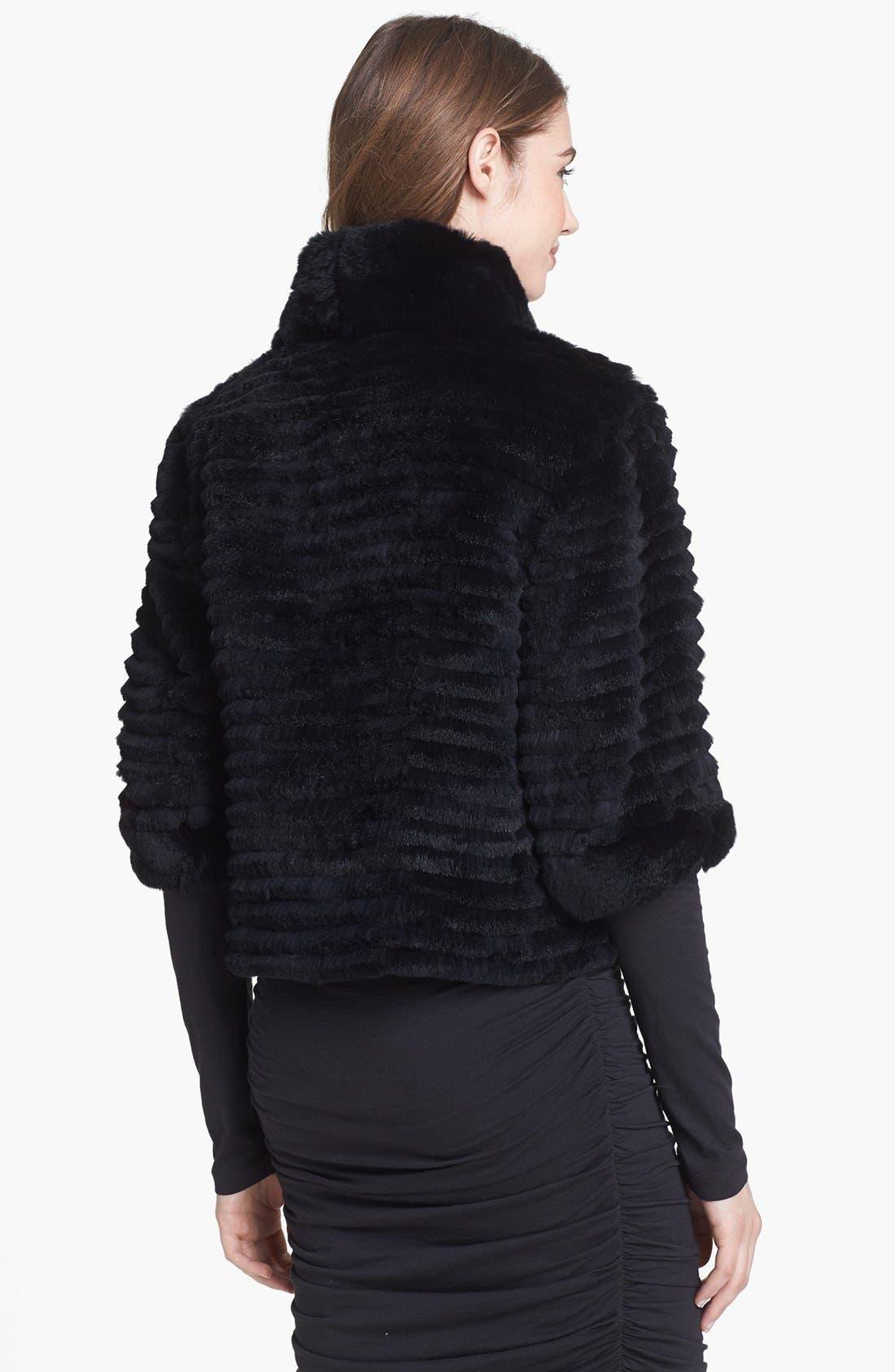 Genuine Rabbit Fur Crop Jacket,                             Alternate thumbnail 2, color,                             001
