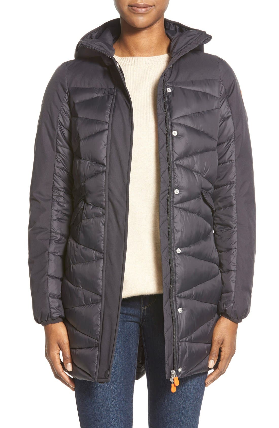 Zip Back Zigzag Quilted Jacket,                             Main thumbnail 1, color,                             001