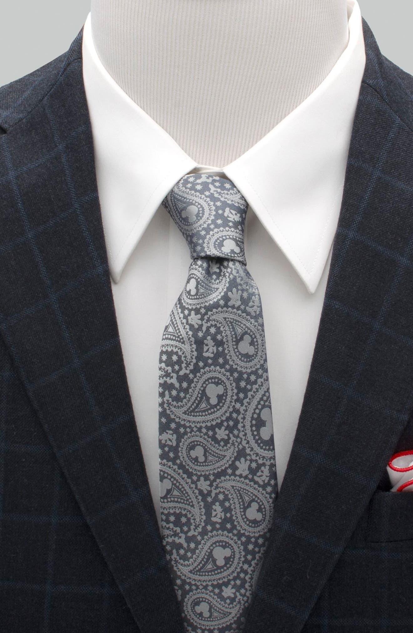 Mickey Mouse Paisley Silk Tie,                             Alternate thumbnail 2, color,                             BLUE/ GREY