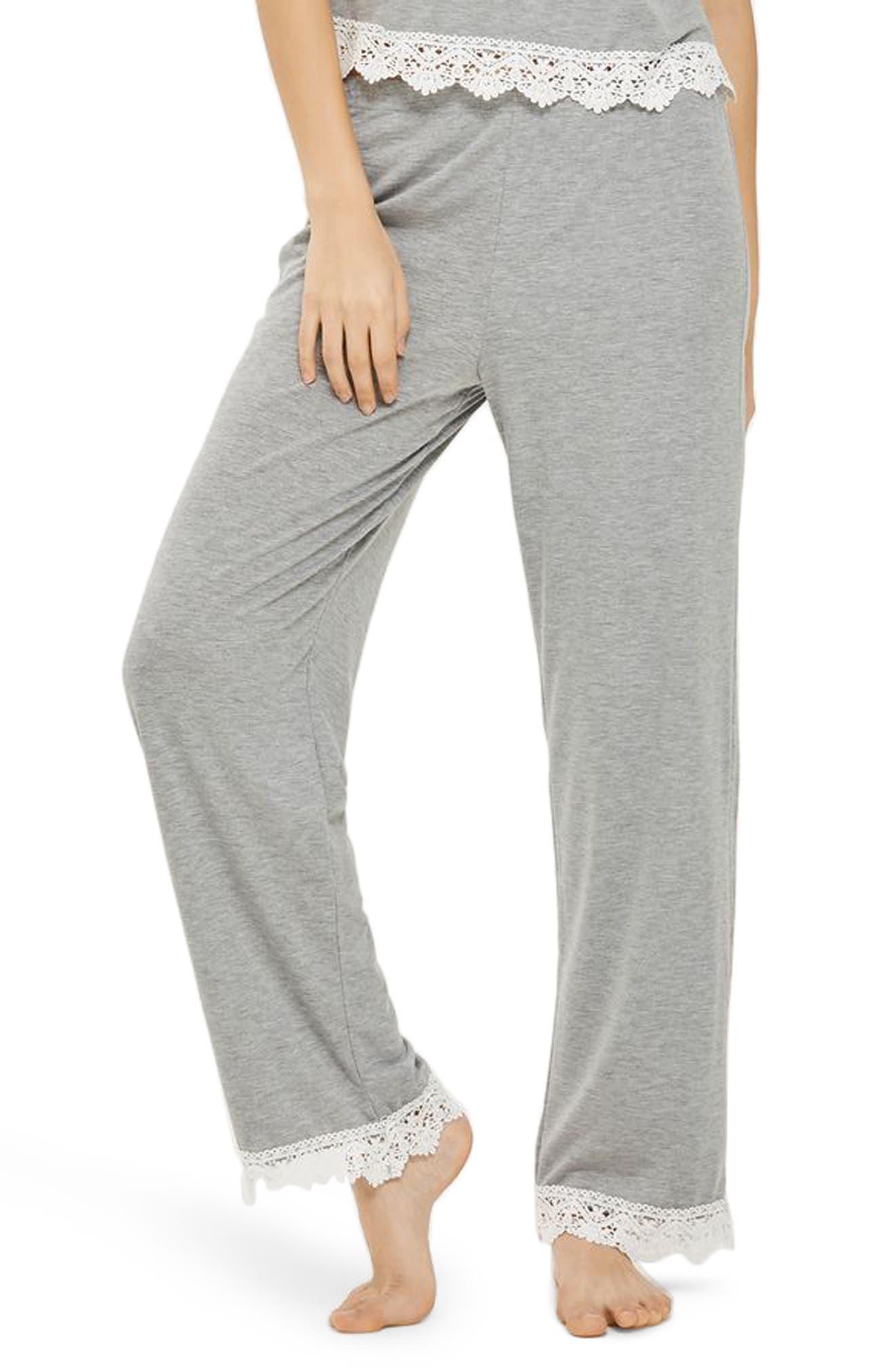 Crochet Trim Pajama Pants,                             Main thumbnail 1, color,                             020