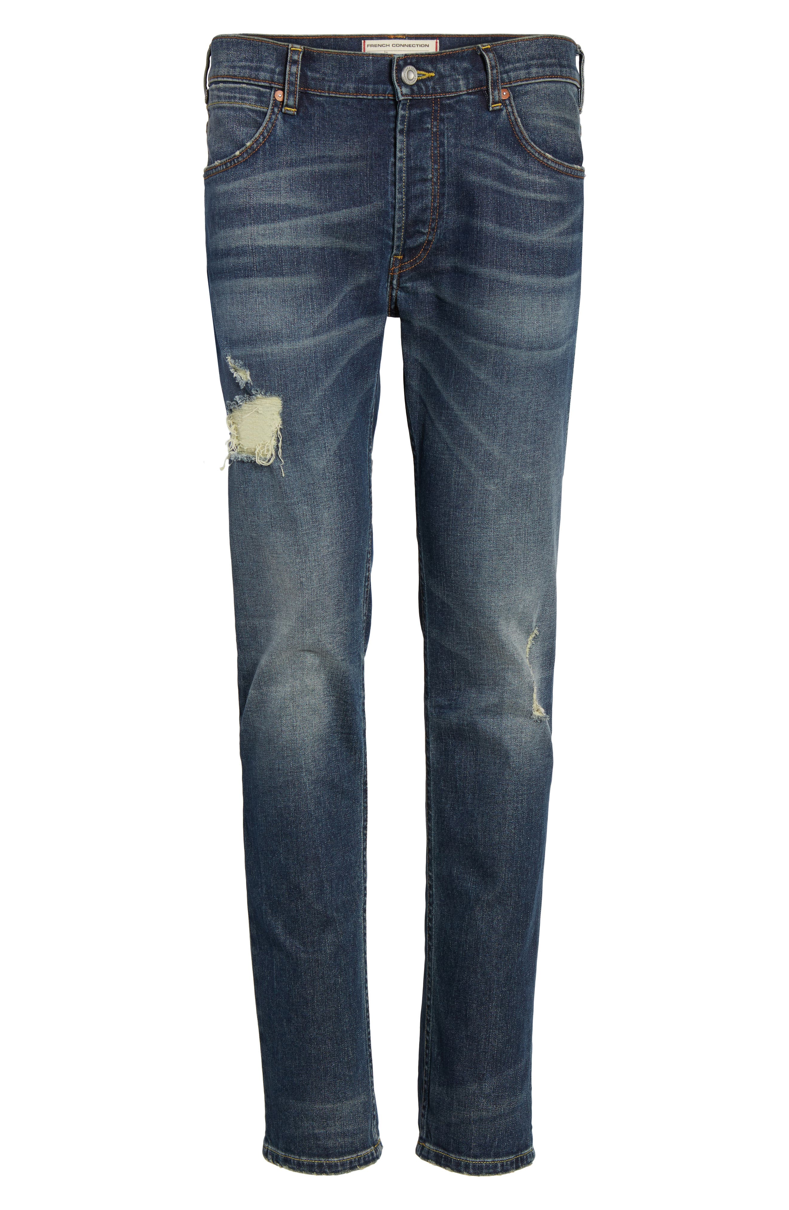 Slim Fit Distressed Jeans,                             Alternate thumbnail 6, color,                             420