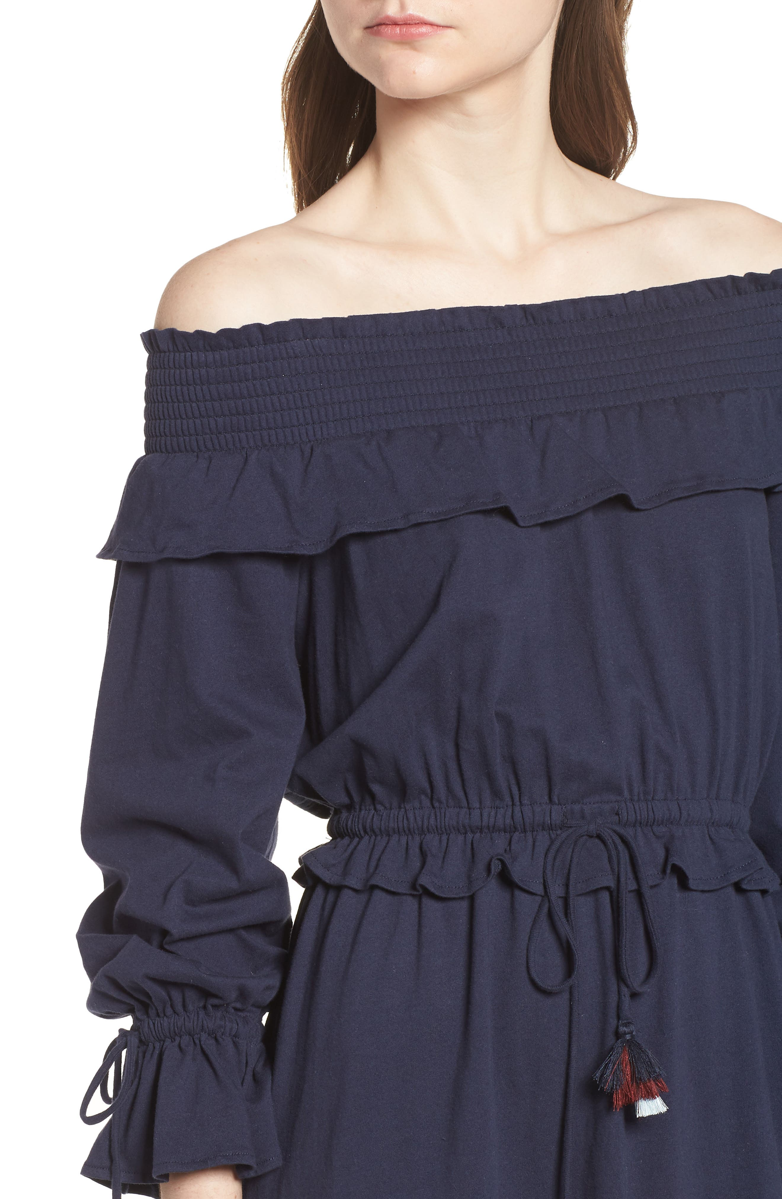 Isla Off the Shoulder Dress,                             Alternate thumbnail 4, color,                             410