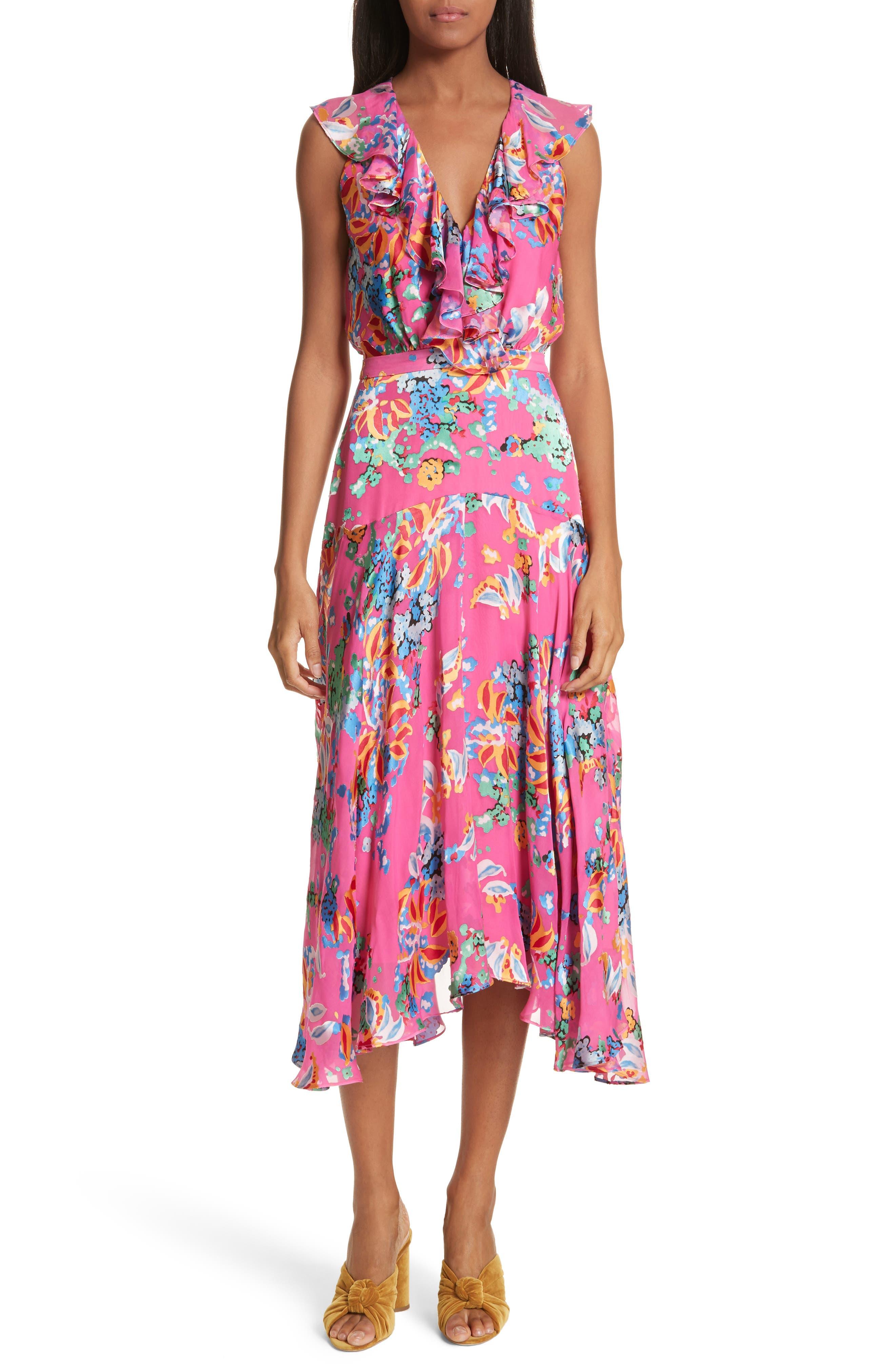Rita Ruffle Dress,                         Main,                         color, PINK BEGONIA