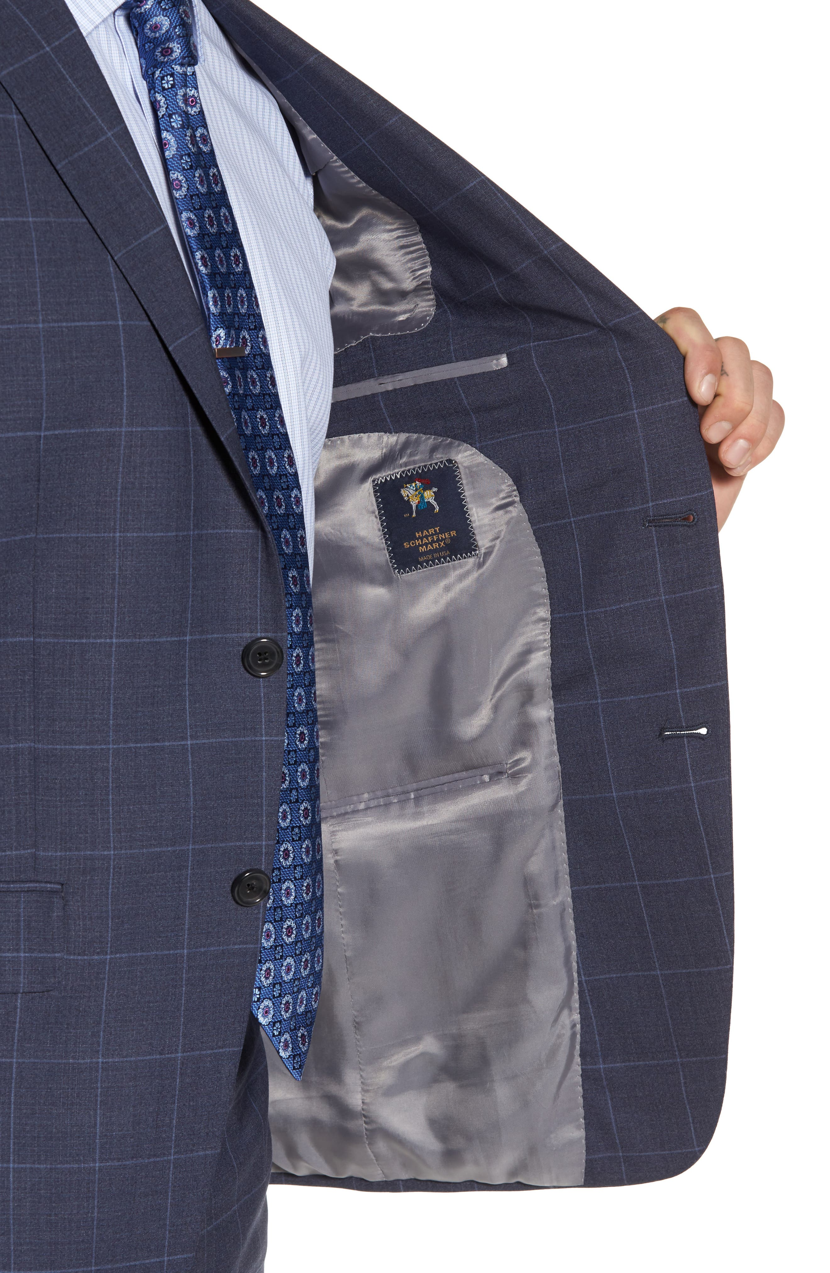 New York Classic Fit Windowpane Wool Suit,                             Alternate thumbnail 4, color,                             420