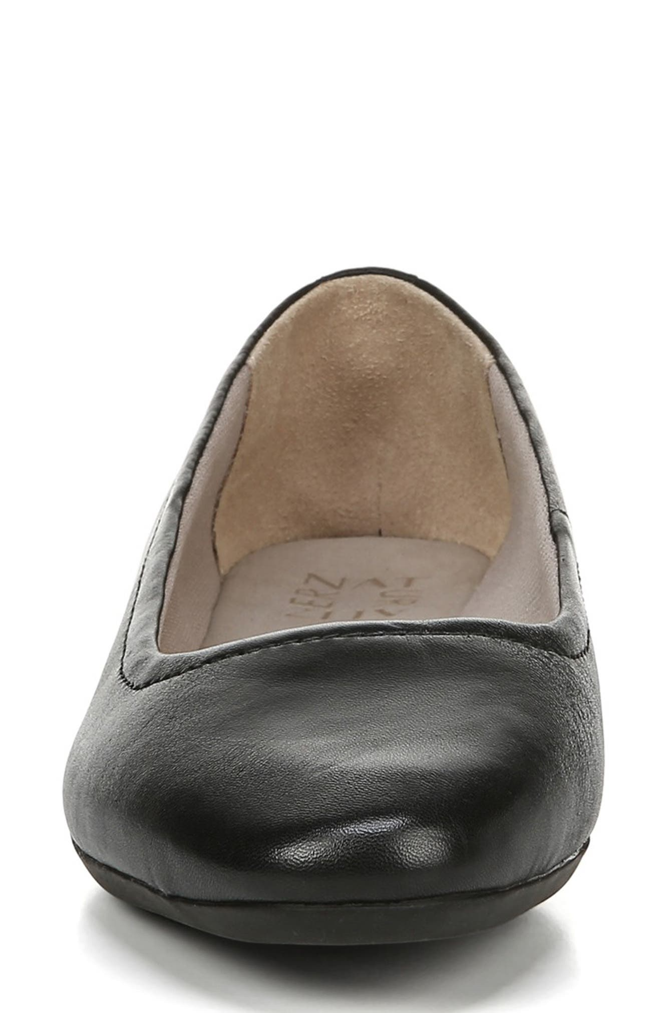 NATURALIZER,                             Alya Flat,                             Alternate thumbnail 4, color,                             BLACK LEATHER