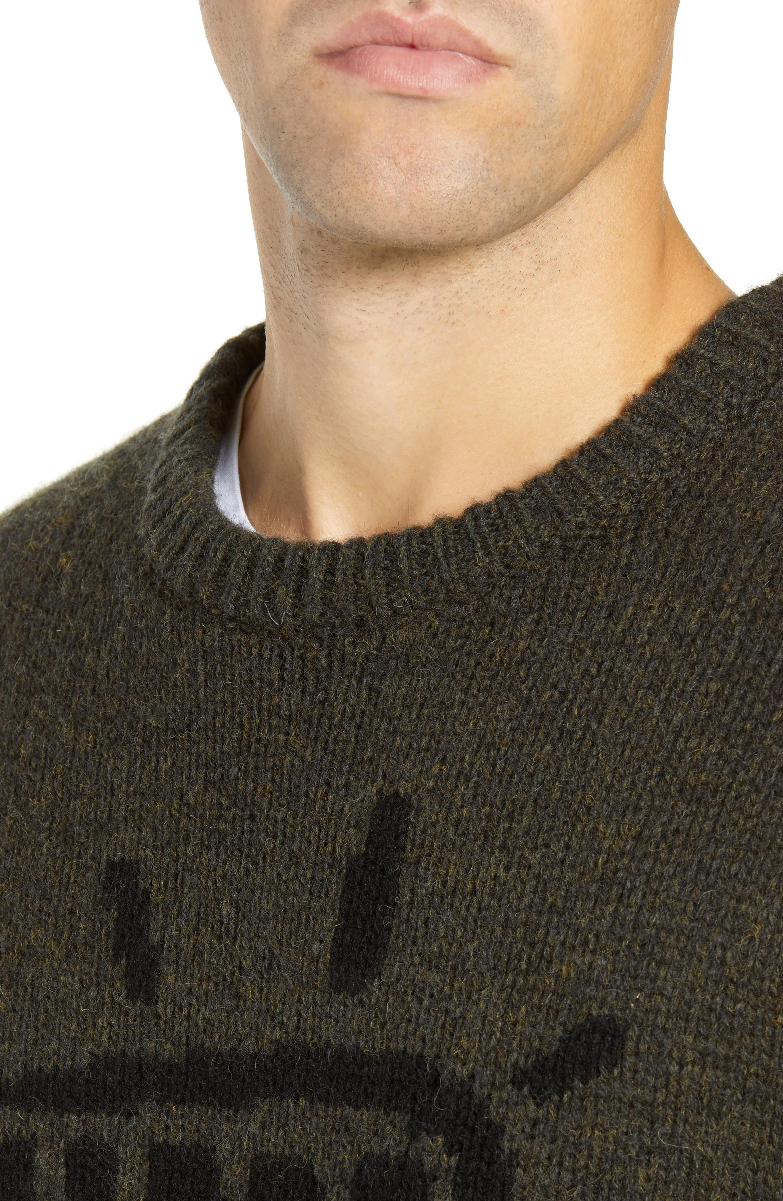 Free Regular Fit Shetland Wool Sweater,                             Alternate thumbnail 4, color,                             MIDNIGHT MOSS BLACK