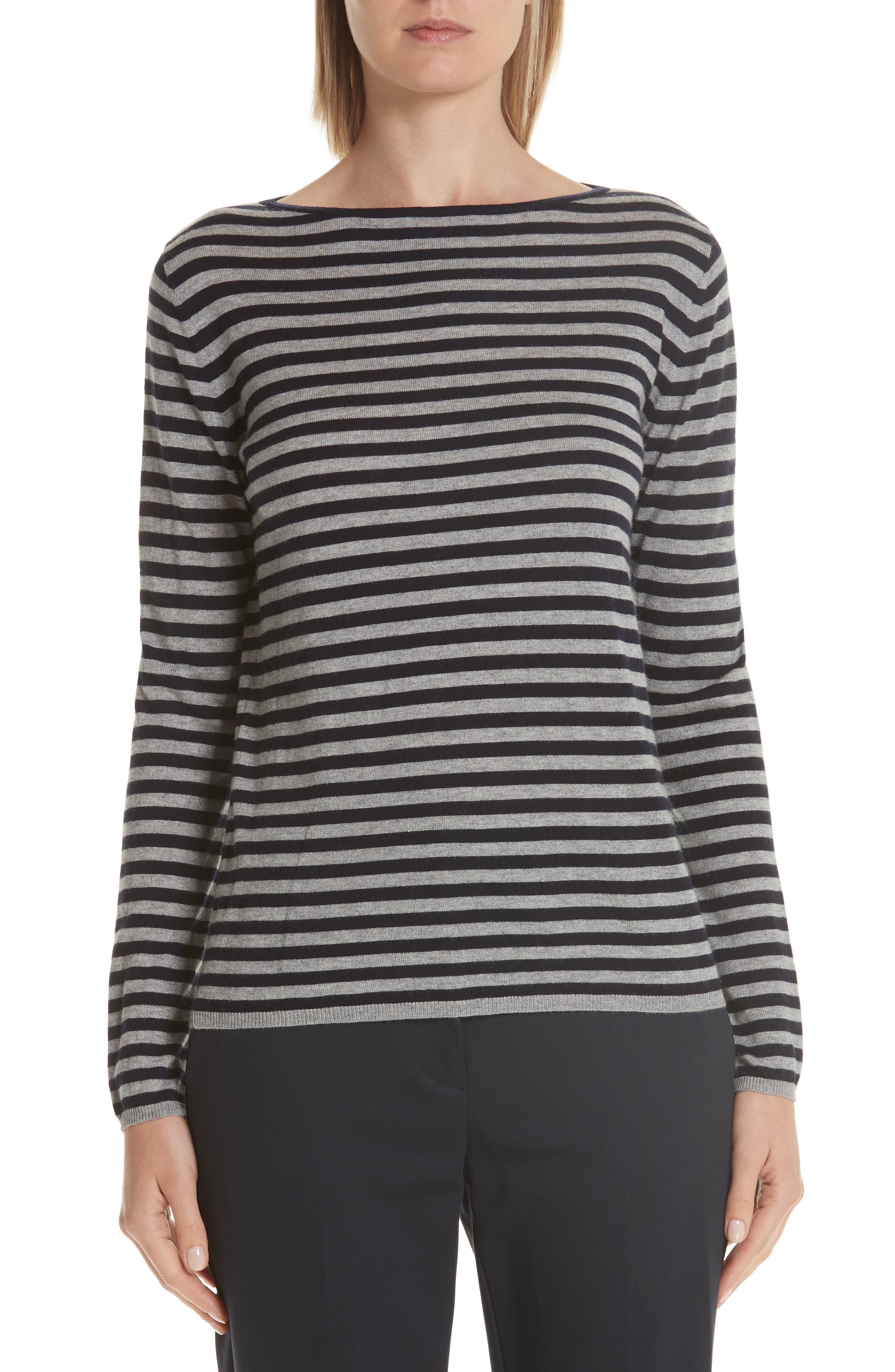 MAX MARA,                             Nardo Stripe Silk & Cashmere Sweater,                             Main thumbnail 1, color,                             LIGHT GREY