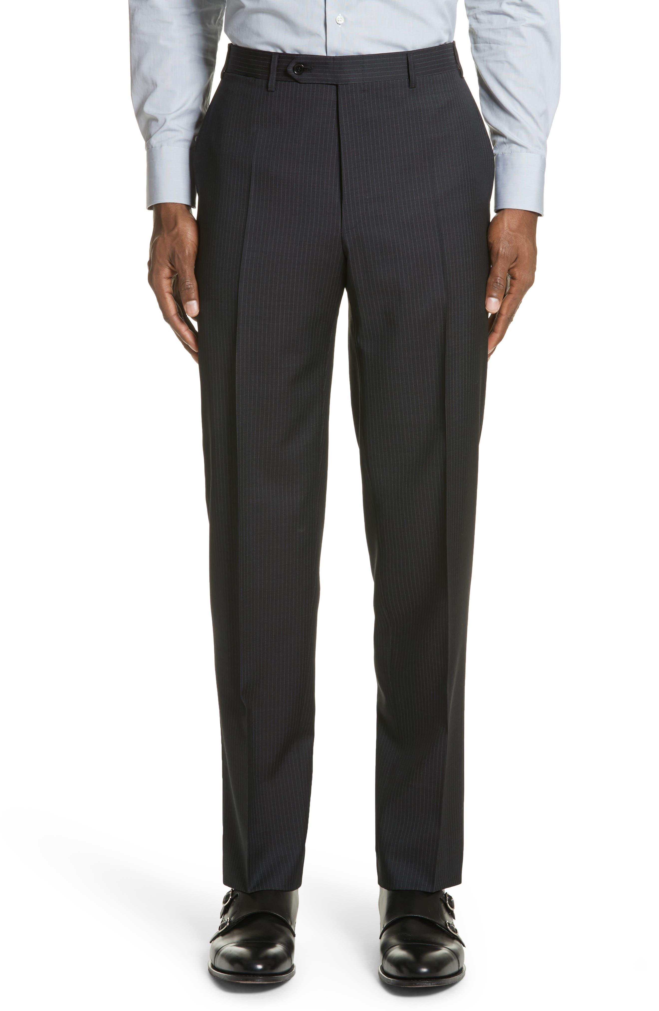 CANALI,                             Classic Fit Stripe Wool Suit,                             Alternate thumbnail 6, color,                             010